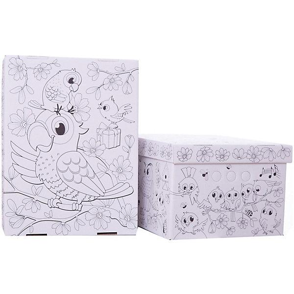 Короб-раскраска картонный, складной, Птички, 25*33*18.5 см., набор из 2 шт., VALIANTНаборы для раскрашивания<br>Короб-раскраска картонный, складной, Птички, 25*33*18.5 см., набор из 2 шт., VALIANT.<br><br>Характеристики:<br><br>• В наборе: 2 короба-раскраски<br>• Размер: 25х33х18,5 см.<br>• Материал: микрогофрокартон<br>• Упаковка: полиэтиленовый пакет с цветным вкладышем<br><br>Картонные короба Птички выполнены в виде раскрасок, специально для развития фантазии и моторики ребенка. Забавные птички способны заинтересовать и порадовать как детей, так и их родителей! Для раскрашивания коробов-раскрасок рекомендуется использовать цветные карандаши или фломастеры. <br><br>Короба прекрасно подходят для хранения детских игрушек, одежды и других аксессуаров. Легкость складывания и раскладывания коробов, возможность штабелирования, а так же наличие прорезных ручек с двух сторон - всё это обеспечивает удобство в их использовании.<br><br>Короб-раскраску картонный, складной, Птички, 25*33*18.5 см., набор из 2 шт., VALIANT можно купить в нашем интернет-магазине.<br>Ширина мм: 340; Глубина мм: 10; Высота мм: 570; Вес г: 425; Возраст от месяцев: 36; Возраст до месяцев: 144; Пол: Женский; Возраст: Детский; SKU: 5427699;