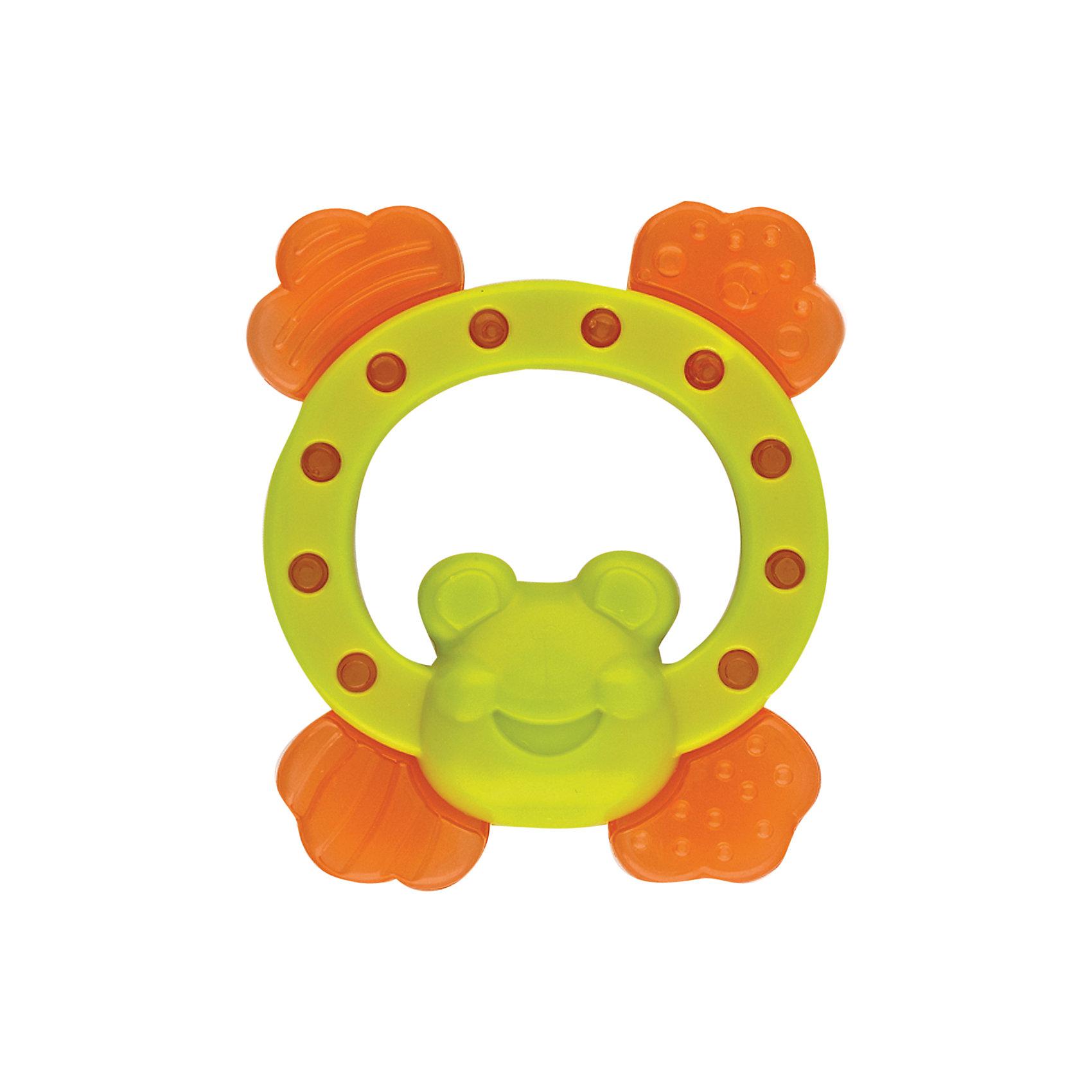 Игрушка с водой Лягушка, KurnosikiИгрушки для ванны<br>Характеристики:<br><br>• Назначение: прорезыватель<br>• Пол: универсальный<br>• Материал: пластик, вода<br>• Цвет: зеленый, оранжевый<br>• Наличие выпуклых элементов разной формы и фактуры <br>• Вес: 105 г<br>• Параметры (Д*Ш*В): 10,5*9*2,5 см <br>• Упаковка: блистер c с европодвесом<br><br>Игрушка с водой Лягушка, Kurnosiki выполнена из пластика различной фактуры. Корпус прорезывателя представляет собой лягушку, лапки которой выполнены из мягкого полимера, наполненного водой. Поверхность лягушки с выпуклыми элементами различной формы обеспечивает массаж десен, а лапки с водой обладают охлаждающим эффектом. <br><br>Прорезыватель имеет эргономичную форму, благодаря чему малышу будет не только удобно держать в руках, но и развивать хватательный рефлекс. За счет деталей, выполненных в ярких цветах, прорезыватель позволит развивать цветовое и зрительное восприятие у ребенка.<br><br>Игрушку с водой Лягушка, Kurnosiki можно купить в нашем интернет-магазине.<br><br>Ширина мм: 20<br>Глубина мм: 110<br>Высота мм: 170<br>Вес г: 78<br>Возраст от месяцев: 4<br>Возраст до месяцев: 18<br>Пол: Унисекс<br>Возраст: Детский<br>SKU: 5428663