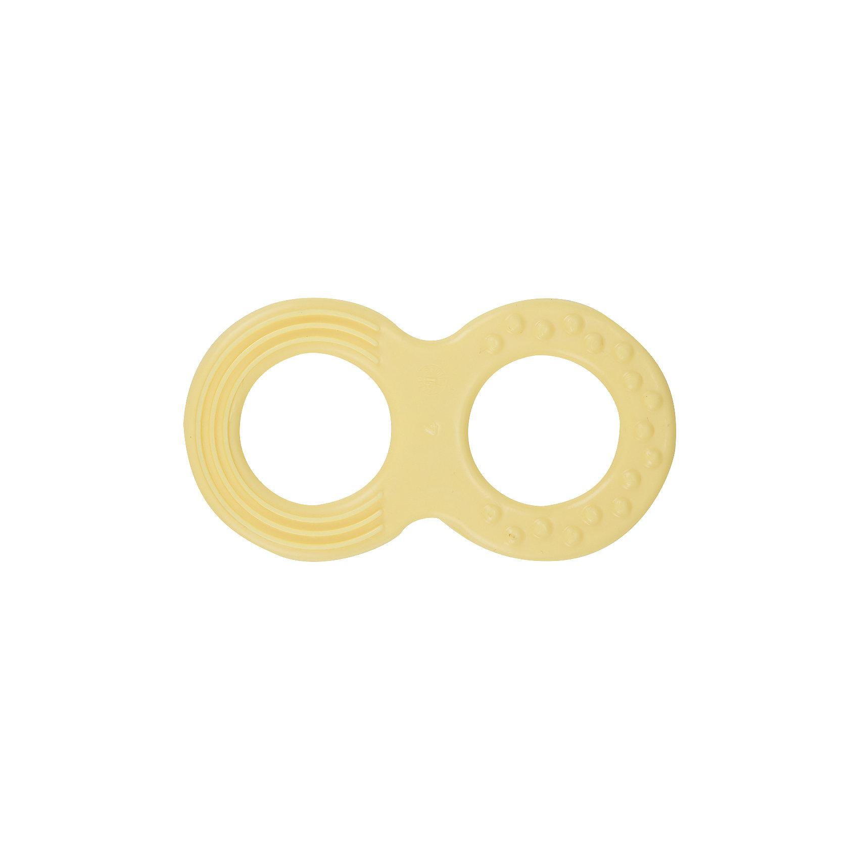 Прорезыватель Восьмерка, Kurnosiki, желтыйПрорезыватели<br>Характеристики:<br><br>• Наименование: прорезыватель<br>• Пол: универсальный<br>• Материал: пластик<br>• Цвет: желтый<br>• Наличие выпуклых элементов разной формы и фактуры <br>• Вес: 50 г<br>• Параметры (Д*Ш*В): 9*5*0,5 см <br>• Упаковка: блистер c с европодвесом<br><br>Игрушка Восьмерка, Kurnosiki, желтый выполнена из пластика. Корпус прорезывателя представляет собой восьмерку. Поверхность игрушки с выпуклыми элементами различной формы обеспечивает массаж десен и развитие тактильного восприятия. <br><br>Прорезыватель имеет эргономичную форму, благодаря чему малышу будет удобно не только держать в руках, но и развивать хватательный рефлекс. Игрушка имеет легкий вес и компактный размер, благодаря чему ее удобно брать с собой на прогулки или в поездки.<br><br>Игрушку Восьмерку, Kurnosiki, желтый можно купить в нашем интернет-магазине.<br><br>Ширина мм: 10<br>Глубина мм: 120<br>Высота мм: 170<br>Вес г: 29<br>Возраст от месяцев: 4<br>Возраст до месяцев: 18<br>Пол: Унисекс<br>Возраст: Детский<br>SKU: 5428671