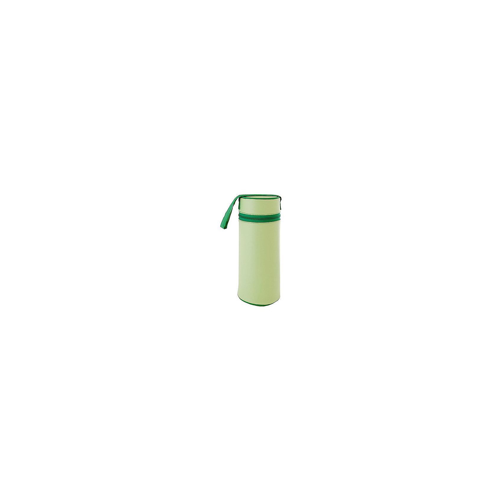 Контейнер для стандартной бутылочки, Kurnosiki, зеленыйХарактеристики:<br><br>• Наименование: контейнер для бутылочки<br>• Материал: ПВХ, полиуретан<br>• Пол: универсальный<br>• Цвет: зеленый<br>• Универсальный размер: вмещают бутылочки объемом до 250 мл<br>• Предусмотрена ручка для подвешивания<br>• Застежка-молния<br>• Вес: 200 г<br>• Параметры (Д*Ш*В): 15*10*20 см <br>• Упаковка: пакет<br>• Особенности ухода: влажная и сухая чистка<br><br>Контейнер для стандартной бутылочки, Kurnosiki, зеленый в виде термоса выполнен из сочетания ПВХ и полиуретена, которые обеспечивают сохранение температуры детского питания в бутылочке. У изделия предусмотрена крышка на застежке-молнии, которая усиливает герметичность. <br><br>Футляр имеет легкий вес и компактный размер, нго удобно брать с собой в поездки и на прогулки. Для удобства использования предусмотрена ручка, за которую футляр можно подвешивать к коляске или сумочке.<br><br>Контейнер для стандартной бутылочки, Kurnosiki, зеленый можно купить в нашем интернет-магазине.<br><br>Ширина мм: 90<br>Глубина мм: 120<br>Высота мм: 310<br>Вес г: 83<br>Возраст от месяцев: 0<br>Возраст до месяцев: 18<br>Пол: Унисекс<br>Возраст: Детский<br>SKU: 5428677