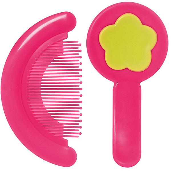 Набор: расческа и щетка, Kurnosiki, розовыйУход за ребенком<br>Характеристики:<br><br>• Наименование: расческа и щетка<br>• Материал: пластик, нейлон<br>• Пол: для девочки<br>• Цвет: розовый, желтый<br>• Рисунок: цветок<br>• Комплектация: расческа, щетка<br>• Мягкая щетина и закругленные зубцы<br>• Отсутствие острых углов<br>• Вес: 68 г<br>• Параметры (Д*Ш*В): 15*3*11 см <br>• Особенности ухода: сухая и влажная чистка<br><br>Набор: расческа и щетка, Kurnosiki, розовый выполнены из гипоаллергенных материалов, которые не раздражают нежную кожу малыша. Расческа выполнена в форме гребня, зубцы имеют закругленные концы, благодаря чему можно быстро и без особых усилий привести в порядок детские волосики. У щетки щетина выполнена из нейлона средней жесткости, что обеспечивает легкий массаж кожи головы. Набор выполнен в ярком цвете. <br><br>Набор: расческу и щетку, Kurnosiki, розовый можно купить в нашем интернет-магазине.<br>Ширина мм: 60; Глубина мм: 170; Высота мм: 190; Вес г: 97; Возраст от месяцев: 4; Возраст до месяцев: 36; Пол: Женский; Возраст: Детский; SKU: 5428688;