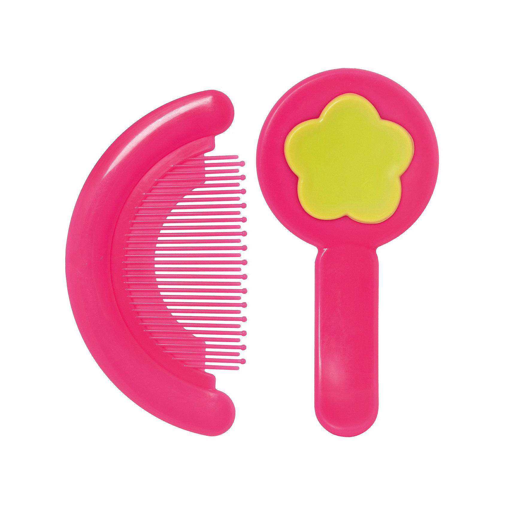 Набор: расческа и щетка, Kurnosiki, розовыйУход за ребенком<br>Характеристики:<br><br>• Наименование: расческа и щетка<br>• Материал: пластик, нейлон<br>• Пол: для девочки<br>• Цвет: розовый, желтый<br>• Рисунок: цветок<br>• Комплектация: расческа, щетка<br>• Мягкая щетина и закругленные зубцы<br>• Отсутствие острых углов<br>• Вес: 68 г<br>• Параметры (Д*Ш*В): 15*3*11 см <br>• Особенности ухода: сухая и влажная чистка<br><br>Набор: расческа и щетка, Kurnosiki, розовый выполнены из гипоаллергенных материалов, которые не раздражают нежную кожу малыша. Расческа выполнена в форме гребня, зубцы имеют закругленные концы, благодаря чему можно быстро и без особых усилий привести в порядок детские волосики. У щетки щетина выполнена из нейлона средней жесткости, что обеспечивает легкий массаж кожи головы. Набор выполнен в ярком цвете. <br><br>Набор: расческу и щетку, Kurnosiki, розовый можно купить в нашем интернет-магазине.<br><br>Ширина мм: 60<br>Глубина мм: 170<br>Высота мм: 190<br>Вес г: 97<br>Возраст от месяцев: 4<br>Возраст до месяцев: 36<br>Пол: Женский<br>Возраст: Детский<br>SKU: 5428688