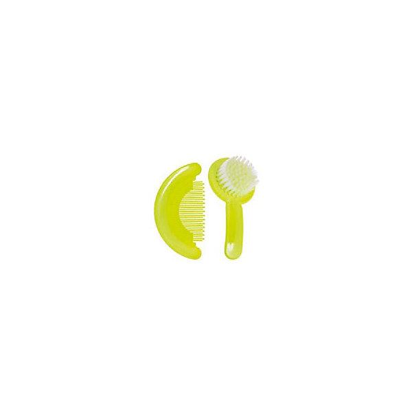 Набор: расческа и щетка, Kurnosiki, зеленыйУход за ребенком<br>Характеристики:<br><br>• Наименование: расческа и щетка<br>• Материал: пластик, нейлон<br>• Пол: универсальный<br>• Цвет: зеленый, фиолетовый<br>• Рисунок: цветок<br>• Комплектация: расческа, щетка<br>• Мягкая щетина и закругленные зубцы<br>• Отсутствие острых углов<br>• Вес: 68 г<br>• Параметры (Д*Ш*В): 15*3*11 см <br>• Особенности ухода: сухая и влажная чистка<br><br>Набор: расческа и щетка, Kurnosiki, зеленый выполнены из гипоаллергенных материалов, которые не раздражают нежную кожу малыша. Расческа выполнена в форме гребня, зубцы имеют закругленные концы, благодаря чему можно быстро и без особых усилий привести в порядок детские волосики. У щетки щетина выполнена из нейлона средней жесткости, что обеспечивает легкий массаж кожи головы. Набор выполнен в ярком цвете. <br><br>Набор: расческу и щетку, Kurnosiki, зеленый можно купить в нашем интернет-магазине.<br><br>Ширина мм: 60<br>Глубина мм: 170<br>Высота мм: 190<br>Вес г: 97<br>Возраст от месяцев: 4<br>Возраст до месяцев: 36<br>Пол: Унисекс<br>Возраст: Детский<br>SKU: 5428689