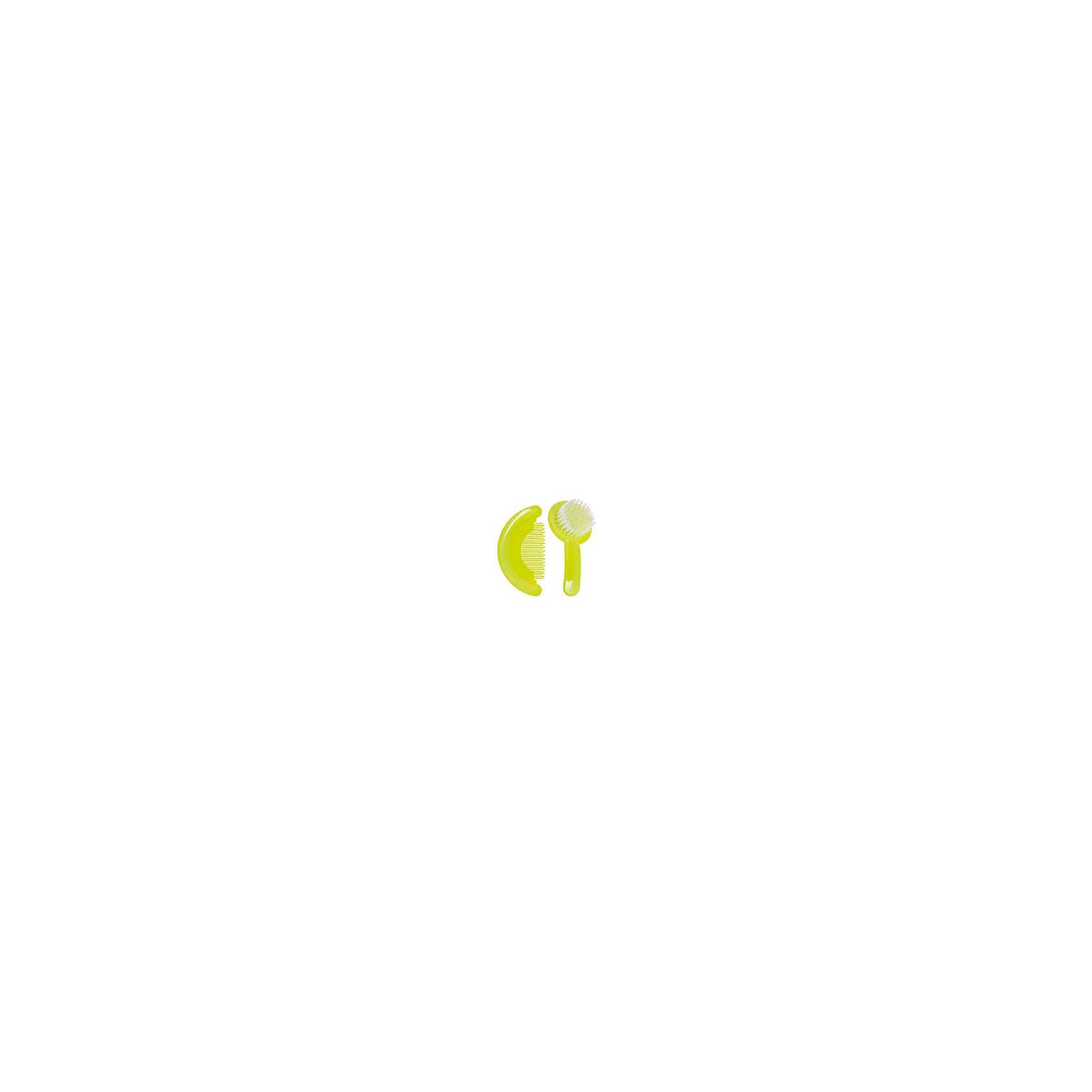 Набор: расческа и щетка, Kurnosiki, зеленыйРасческа с закругленными безопасными зубчиками и щетка с мягкой щетиной делают комфортным ежедневное причесывание.<br><br>Ширина мм: 60<br>Глубина мм: 170<br>Высота мм: 190<br>Вес г: 97<br>Возраст от месяцев: 4<br>Возраст до месяцев: 36<br>Пол: Унисекс<br>Возраст: Детский<br>SKU: 5428689