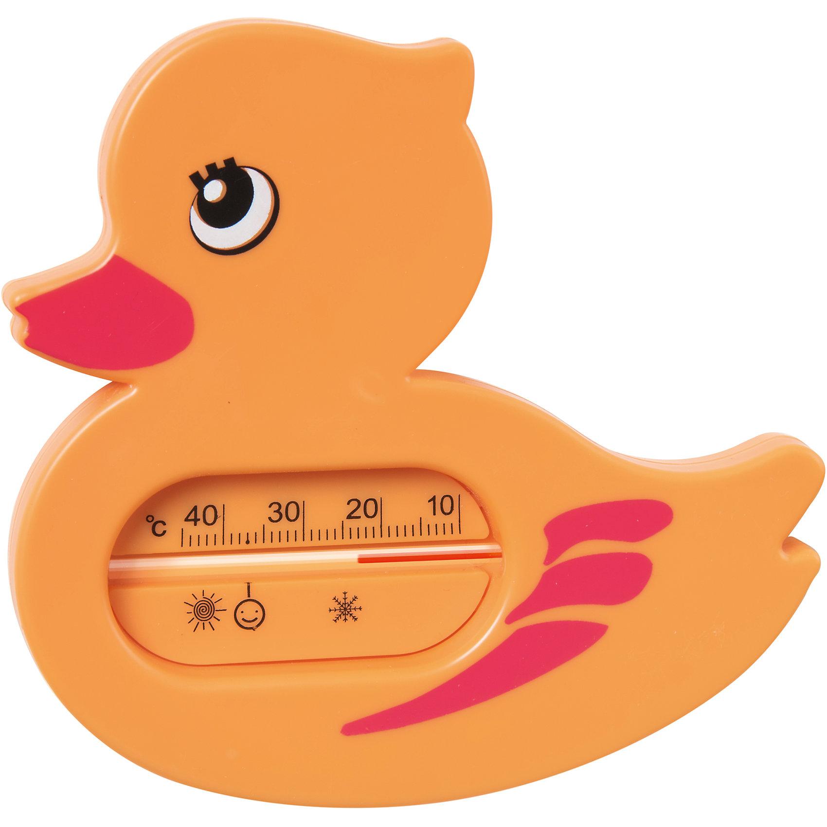 Термометр для ванной Уточка, Kurnosiki, оранжевыйПрочие аксессуары<br>Характеристики:<br><br>• Наименование: термометр для ванны<br>• Материал: пластик<br>• Пол: универсальный<br>• Цвет: оранжевый<br>• Форма: уточка<br>• Тип шкалы: по Цельсию <br>• Максимальное значение: 48? С<br>• Минимальное значение: 10? С<br>• Нанесена отметка напротив оптимальной температуры для купания<br>• Ударопрочный корпус <br>• Не содержит ртути<br>• Отсутствие острых углов<br>• Вес: 80 г<br>• Параметры (Д*Ш*В): 10*5*10 см <br>• Особенности ухода: сухая и влажная чистка<br><br>Термометр для ванны Уточка, Kurnosiki, желтый выполнен из ударопрочного пластика, не содержит ртути. Форма градусника представляет собой ярко-желтую уточку. Цена деления у шкалы 1 градус, напротив оптимальной температуры для купания нанесена отметка. <br><br>Чтобы градусник определил температуру воды с высокой точностью, его необходимо подержать в воде не менее 1 минуты. Термометр для ванны Уточка, Kurnosiki, желтый станет незаменимым помощником для мамы во время купания малыша.<br><br>Термометр для ванны Уточка, Kurnosiki, желтый можно купить в нашем интернет-магазине.<br><br>Ширина мм: 130<br>Глубина мм: 10<br>Высота мм: 190<br>Вес г: 56<br>Возраст от месяцев: 0<br>Возраст до месяцев: 36<br>Пол: Унисекс<br>Возраст: Детский<br>SKU: 5428705