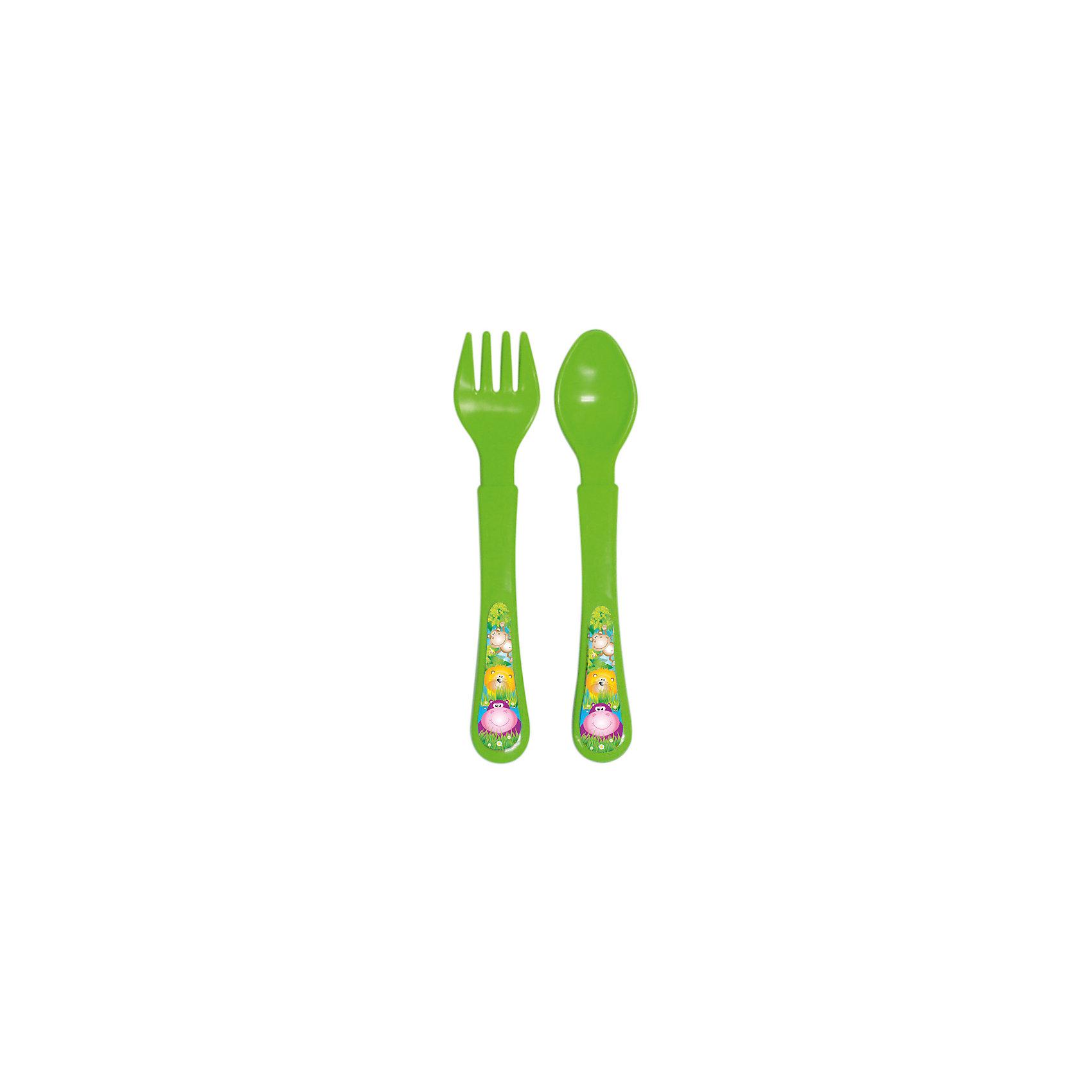 Набор: ложечка и вилочка, серия «Сафари», Kurnosiki, зеленыйПосуда для малышей<br>Характеристики:<br><br>• Наименование: столовые приборы<br>• Материал: пластик<br>• Пол: универсальный<br>• Цвет: зеленый<br>• Тематика рисунка: животные сафари<br>• Комплектация: ложка, вилка<br>• У вилки закругленные зубцы<br>• Удобные ручки<br>• Отсутствие острых краев<br>• Вес: 40 г<br>• Параметры (Д*Ш*В): 20*3*10 см <br>• Особенности ухода: разрешается мыть в посудомоечной машине<br><br>Набор: ложечка и вилочка, серия «Сафари», Kurnosiki, зеленый состоит из двух столовых приборов, выполненных из безопасного и ударопрочного пластика, что обеспечивает их гигиену. У вилки зубцы закругленные, ручки у изделий средней ширины, округлые, что делает из безопасными для маленьких детей. <br><br>Набор: ложечка и вилочка, серия «Сафари», Kurnosiki, зеленый выполнен в ярком дизайне: на ручках нанесены изображения животных сафари. Рисунок устойчивый, не стирается и не изменяет цвет даже при частом использовании. Набор столовых приборов от Курносиков позволит научить вашего малыша правильно пользоваться вилкой и ложкой без особого труда!<br><br>Набор: ложечка и вилочка, серия «Сафари», Kurnosiki, зеленый можно купить в нашем интернет-магазине.<br><br>Ширина мм: 20<br>Глубина мм: 90<br>Высота мм: 200<br>Вес г: 41<br>Возраст от месяцев: 4<br>Возраст до месяцев: 36<br>Пол: Унисекс<br>Возраст: Детский<br>SKU: 5428706
