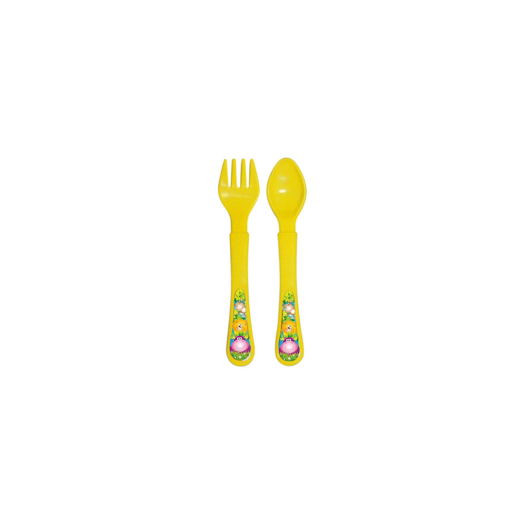 Набор: ложечка и вилочка, серия «Сафари», Kurnosiki, желтыйПосуда для малышей<br>Характеристики:<br><br>• Наименование: столовые приборы<br>• Материал: пластик<br>• Пол: универсальный<br>• Цвет: жёлтый<br>• Тематика рисунка: животные сафари<br>• Комплектация: ложка, вилка<br>• У вилки закругленные зубцы<br>• Удобные ручки<br>• Отсутствие острых краев<br>• Вес: 40 г<br>• Параметры (Д*Ш*В): 20*3*10 см <br>• Особенности ухода: разрешается мыть в посудомоечной машине<br><br>Набор: ложечка и вилочка, серия «Сафари», Kurnosiki, зеленый состоит из двух столовых приборов, выполненных из безопасного и ударопрочного пластика, что обеспечивает их гигиену. У вилки зубцы закругленные, ручки у изделий средней ширины, округлые, что делает из безопасными для маленьких детей. <br><br>Набор: ложечка и вилочка, серия «Сафари», Kurnosiki, зеленый выполнен в ярком дизайне: на ручках нанесены изображения животных сафари. Рисунок устойчивый, не стирается и не изменяет цвет даже при частом использовании. Набор столовых приборов от Курносиков позволит научить вашего малыша правильно пользоваться вилкой и ложкой без особого труда!<br><br>Набор: ложечка и вилочка, серия «Сафари», Kurnosiki, зеленый можно купить в нашем интернет-магазине.<br><br>Ширина мм: 20<br>Глубина мм: 90<br>Высота мм: 200<br>Вес г: 41<br>Возраст от месяцев: 4<br>Возраст до месяцев: 36<br>Пол: Унисекс<br>Возраст: Детский<br>SKU: 5428707