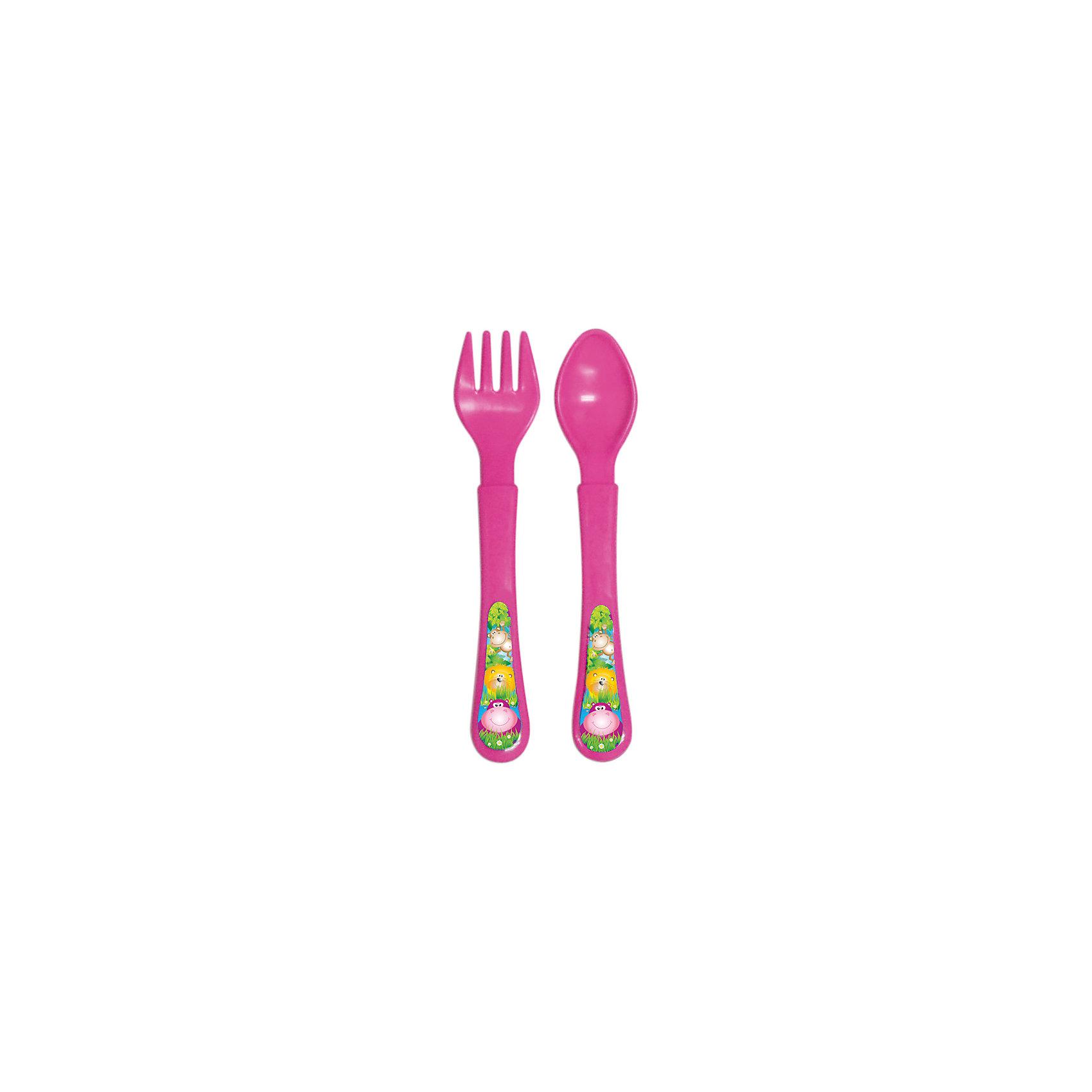 Набор: ложечка и вилочка, серия «Сафари», Kurnosiki, розовыйХарактеристики:<br><br>• Наименование: столовые приборы<br>• Материал: пластик<br>• Пол: для девочки<br>• Цвет: розовый<br>• Тематика рисунка: животные сафари<br>• Комплектация: ложка, вилка<br>• У вилки закругленные зубцы<br>• Удобные ручки<br>• Отсутствие острых краев<br>• Вес: 40 г<br>• Параметры (Д*Ш*В): 20*3*10 см <br>• Особенности ухода: разрешается мыть в посудомоечной машине<br><br>Набор: ложечка и вилочка, серия «Сафари», Kurnosiki, зеленый состоит из двух столовых приборов, выполненных из безопасного и ударопрочного пластика, что обеспечивает их гигиену. У вилки зубцы закругленные, ручки у изделий средней ширины, округлые, что делает из безопасными для маленьких детей. <br><br>Набор: ложечка и вилочка, серия «Сафари», Kurnosiki, зеленый выполнен в ярком дизайне: на ручках нанесены изображения животных сафари. Рисунок устойчивый, не стирается и не изменяет цвет даже при частом использовании. Набор столовых приборов от Курносиков позволит научить вашего малыша правильно пользоваться вилкой и ложкой без особого труда!<br><br>Набор: ложечка и вилочка, серия «Сафари», Kurnosiki, зеленый можно купить в нашем интернет-магазине.<br><br>Ширина мм: 20<br>Глубина мм: 90<br>Высота мм: 200<br>Вес г: 41<br>Возраст от месяцев: 4<br>Возраст до месяцев: 36<br>Пол: Женский<br>Возраст: Детский<br>SKU: 5428708