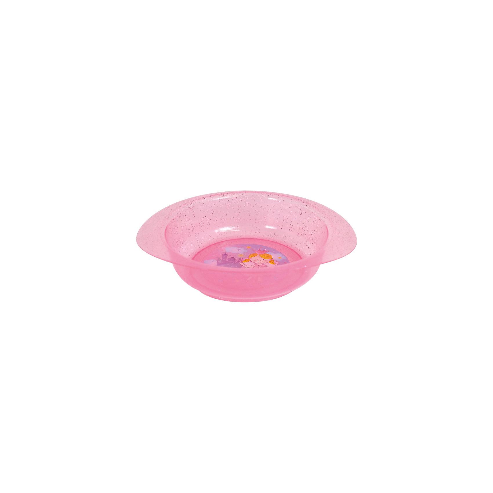 Тарелочка для первых блюд, Kurnosiki, розовыйХарактеристики:<br><br>• Наименование: тарелочка для первых блюд<br>• Материал: пластик<br>• Пол: для девочки<br>• Цвет: розовый<br>• Тематика рисунка: принцесса, замок<br>• Можно использовать как для холодных, так и для горячих блюд<br>• Можно использовать для СВЧ<br>• Удобные ручки с антискользящей поверхностью<br>• Декорирована блестками<br>• Вес: 50 г<br>• Параметры (Д*Ш*В): 24*21*5 см <br>• Особенности ухода: разрешается мыть в посудомоечной машине<br><br>Тарелочка для первых блюд, Kurnosiki, фиолетовый выполнена из безопасного и ударопрочного пластика, по бокам имеются литые нескользящие ручки. <br><br>Тарелочка для первых блюд, Kurnosiki, фиолетовый выполнена в ярком дизайне: дно оформлено сюжетной картинкой принцессы на фоне замка, весь корпус декорирован блестками. Рисунок устойчив к выцветанию и истиранию. Тарелочка для первых блюд от Курносиков позволит без труда накормить даже самых непоседливых маленьких принцесс!<br><br>Тарелочку для первых блюд, Kurnosiki, фиолетовый можно купить в нашем интернет-магазине.<br><br>Ширина мм: 70<br>Глубина мм: 100<br>Высота мм: 190<br>Вес г: 85<br>Возраст от месяцев: 4<br>Возраст до месяцев: 36<br>Пол: Женский<br>Возраст: Детский<br>SKU: 5428720