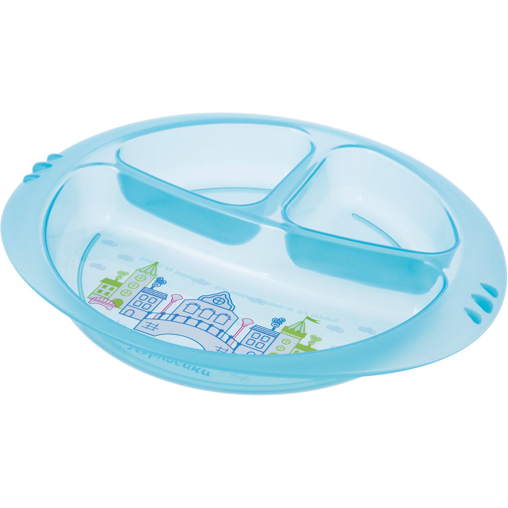 Тарелочка детская трехсекционная, Kurnosiki, голубойХарактеристики:<br><br>• Предназначение: для кормления<br>• Материал: пластик<br>• Пол: для мальчика<br>• Цвет: голубой<br>• Тематика рисунка: сказочный город<br>• Предусмотрено три секции<br>• Можно использовать как для холодных, так и для горячих блюд<br>• Можно использовать для СВЧ<br>• Вес: 90 г<br>• Параметры (Д*Ш*В): 25*3*19 см <br>• Особенности ухода: разрешается мыть в посудомоечной машине<br><br>Тарелочка детская трехсекционная, Kurnosiki, зеленый выполнена из безопасного и ударопрочного пластика, устойчивого к появлению царапин и сколов. Три секции позволяют использовать тарелочку для различных блюд одновременно. Секции глубокие с высокими перегородками, что будет препятствовать смешиванию различных блюд.<br><br> Дно самой большой секции оформлено сюжетной картинкой с изображением сказочного города. Изделие выполнено в ярком цвете, имеет компактный размер и легкий вес, поэтому его удобно брать с собой в длительные поездки, на пикники или в путешествия. <br><br>Тарелочку детскую трехсекционную, Kurnosiki, зеленый можно купить в нашем интернет-магазине.<br><br>Ширина мм: 210<br>Глубина мм: 30<br>Высота мм: 230<br>Вес г: 106<br>Возраст от месяцев: 4<br>Возраст до месяцев: 36<br>Пол: Мужской<br>Возраст: Детский<br>SKU: 5428727