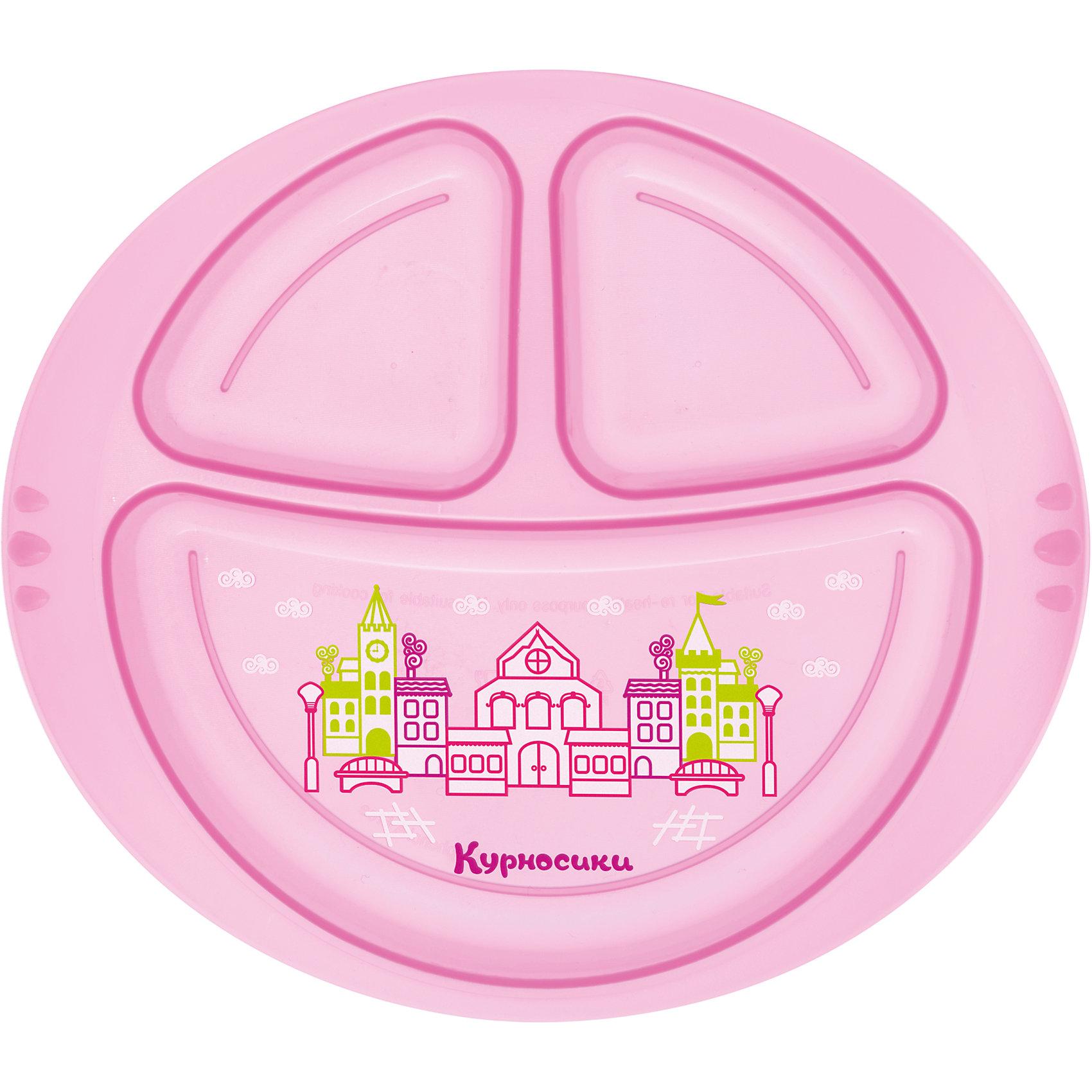 Тарелочка детская трехсекционная, Kurnosiki, розовыйХарактеристики:<br><br>• Предназначение: для кормления<br>• Материал: пластик<br>• Пол: для девочки<br>• Цвет: розовый<br>• Тематика рисунка: сказочный город<br>• Предусмотрено три секции<br>• Можно использовать как для холодных, так и для горячих блюд<br>• Можно использовать для СВЧ<br>• Вес: 90 г<br>• Параметры (Д*Ш*В): 25*3*19 см <br>• Особенности ухода: разрешается мыть в посудомоечной машине<br><br>Тарелочка детская трехсекционная, Kurnosiki, зеленый выполнена из безопасного и ударопрочного пластика, устойчивого к появлению царапин и сколов. Три секции позволяют использовать тарелочку для различных блюд одновременно. Секции глубокие с высокими перегородками, что будет препятствовать смешиванию различных блюд.<br><br>Дно самой большой секции оформлено сюжетной картинкой с изображением сказочного города. Изделие выполнено в ярком цвете, имеет компактный размер и легкий вес, поэтому его удобно брать с собой в длительные поездки, на пикники или в путешествия. <br><br>Тарелочку детскую трехсекционную, Kurnosiki, зеленый можно купить в нашем интернет-магазине.<br><br>Ширина мм: 210<br>Глубина мм: 30<br>Высота мм: 230<br>Вес г: 106<br>Возраст от месяцев: 4<br>Возраст до месяцев: 36<br>Пол: Женский<br>Возраст: Детский<br>SKU: 5428728