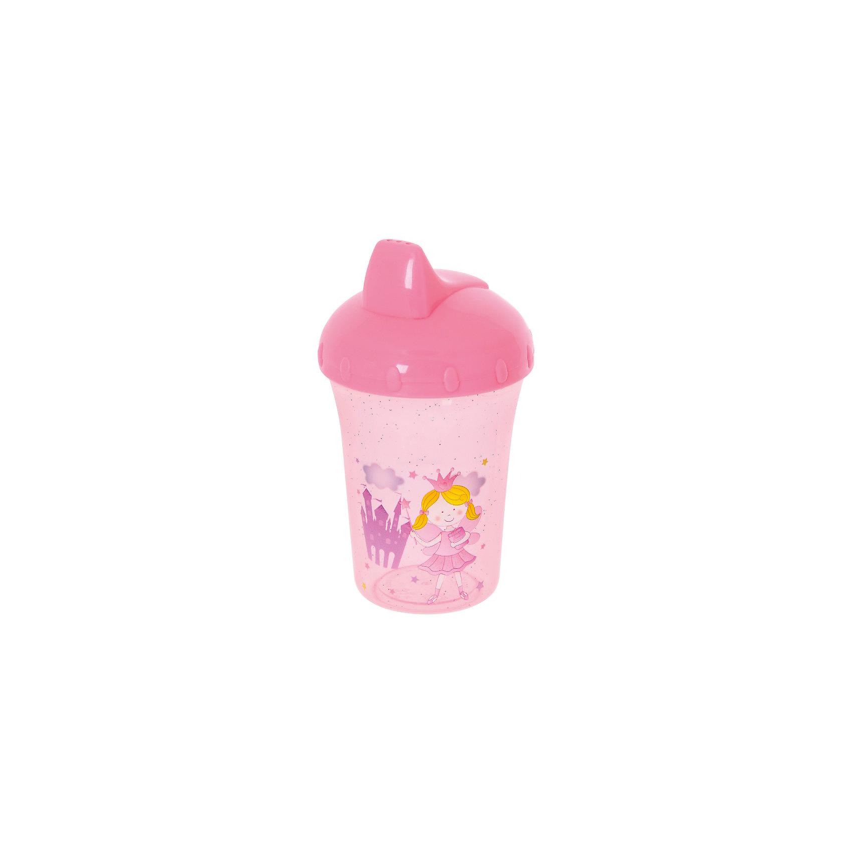 Поильник-непроливайка Принцесса, 260 мл, Kurnosiki, розовыйХарактеристики:<br><br>• Предназначение: для приучения к кружке<br>• Материал: пластик, силикон<br>• Пол: для девочки<br>• Цвет: розовый<br>• Тематика рисунка: принцессы<br>• Объем: 260 мл<br>• Тип носика: жесткий<br>• Удобный широкий носик<br>• Съемная крышка<br>• Силиконовый-клапан непроливайка<br>• Можно использовать как для холодных, так и для горячих напитков<br>• Вес: 100 г<br>• Особенности ухода: разрешается мыть в посудомоечной машине<br><br>Поильник-непроливайка Принцесса, 260 мл, Kurnosiki, фиолетовый изготовлен из безопасного и ударопрочного пластика, устойчивого к появлению царапин и сколов. Форма изделия выполнена с учетом особенностей размера детских ручек, поэтому малышу будет удобно держать поильник. <br><br>Крышка оснащена твердым широким носиком, который обеспечивает оптимальный поток жидкости. Крышка с носиком плотно и герметично фиксируется на стакане, дополнительно предусмотрен силиконовый клапан, который защищает от проливания и протекания. <br><br>Изделие выполнено в ярком дизайне: стакан декорирован блестками и изображением принцессы. Без крышки изделие можно использовать в качестве стакана. С поильником-непроливайкой Принцесса, 260 мл, Kurnosiki, фиолетовый ваш малыш легко и быстро научится пить из кружки!<br><br>Поильник-непроливайку Принцесса, 260 мл, Kurnosiki, фиолетовый можно купить в нашем интернет-магазине.<br><br>Ширина мм: 80<br>Глубина мм: 100<br>Высота мм: 190<br>Вес г: 70<br>Возраст от месяцев: 4<br>Возраст до месяцев: 36<br>Пол: Женский<br>Возраст: Детский<br>SKU: 5428733