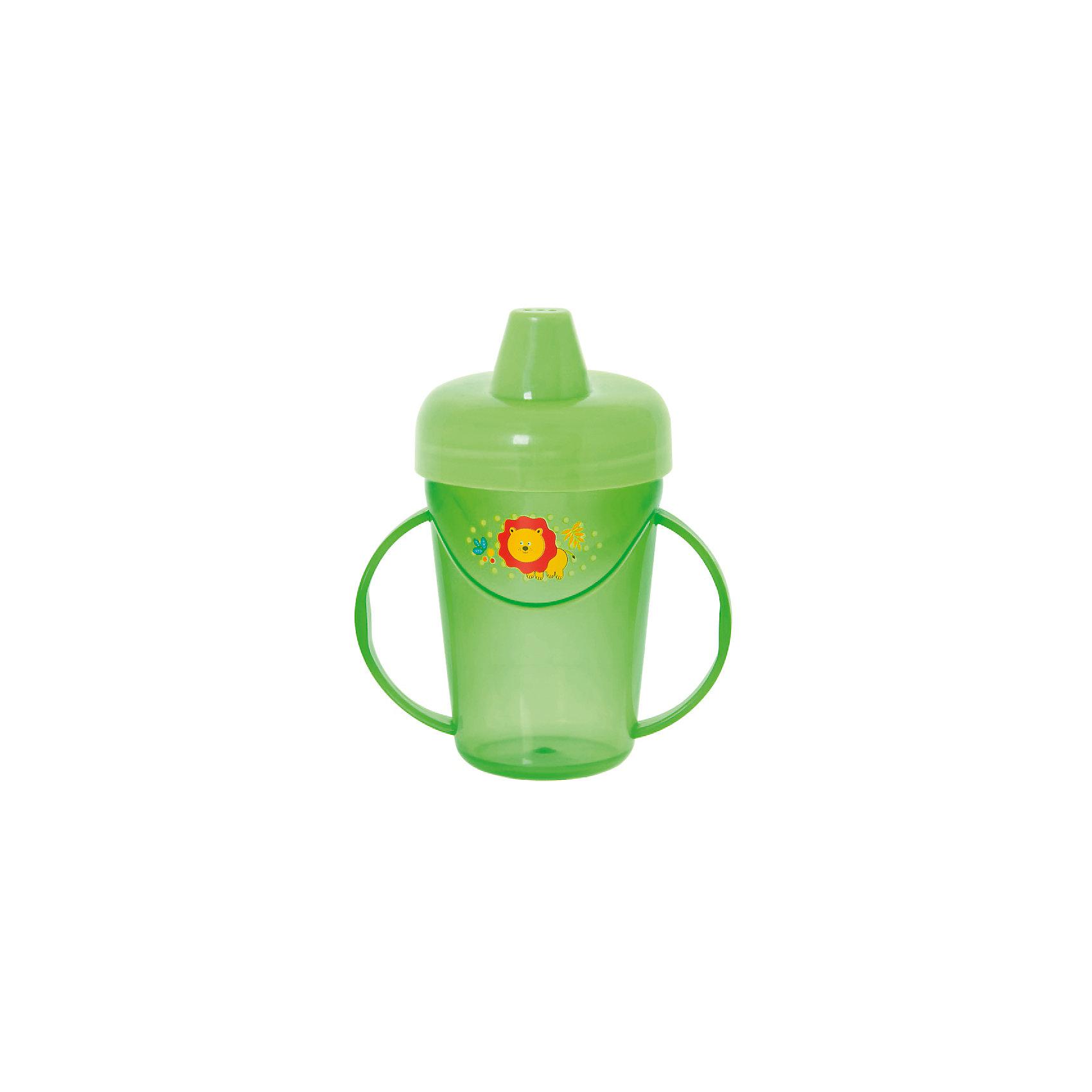 Поильник-непроливайка с ручками, 235 мл, Kurnosiki, зеленыйПоильники<br>Характеристики:<br><br>• Предназначение: для приучения к кружке<br>• Материал: пластик, силикон<br>• Пол: универсальный<br>• Цвет: зелёный<br>• Тематика рисунка: лев<br>• Объем: 235 мл<br>• Тип носика: жесткий<br>• Удобный широкий носик<br>• Съемная крышка<br>• Силиконовый-клапан непроливайка<br>• По бокам на поильнике имеются ручки<br>• Можно использовать как для холодных, так и для горячих напитков<br>• Вес: 80 г<br>• Особенности ухода: разрешается мыть в посудомоечной машине<br><br>Поильник-непроливайка с ручками, 235 мл, Kurnosiki, фиолетовый изготовлен из безопасного и ударопрочного пластика, устойчивого к появлению царапин и сколов. Форма изделия выполнена с учетом особенностей размера детских ручек, поэтому малышу будет удобно держать поильник. <br><br>Крышка оснащена твердым широким носиком, который обеспечивает оптимальный поток жидкости. Крышка с носиком плотно и герметично фиксируется на стакане, дополнительно предусмотрен силиконовый клапан, который защищает от проливания и протекания. <br><br>Изделие выполнено в ярком дизайне: стакан декорирован изображением бегемотика. Без крышки изделие можно использовать в качестве стакана. С поильником-непроливайкой с ручками, 235 мл, Kurnosiki, фиолетовый ваш малыш легко и быстро научится пить из кружки!<br><br>Поильник-непроливайку с ручками, 235 мл, Kurnosiki, фиолетовый можно купить в нашем интернет-магазине.<br><br>Ширина мм: 80<br>Глубина мм: 120<br>Высота мм: 190<br>Вес г: 80<br>Возраст от месяцев: 4<br>Возраст до месяцев: 36<br>Пол: Унисекс<br>Возраст: Детский<br>SKU: 5428736