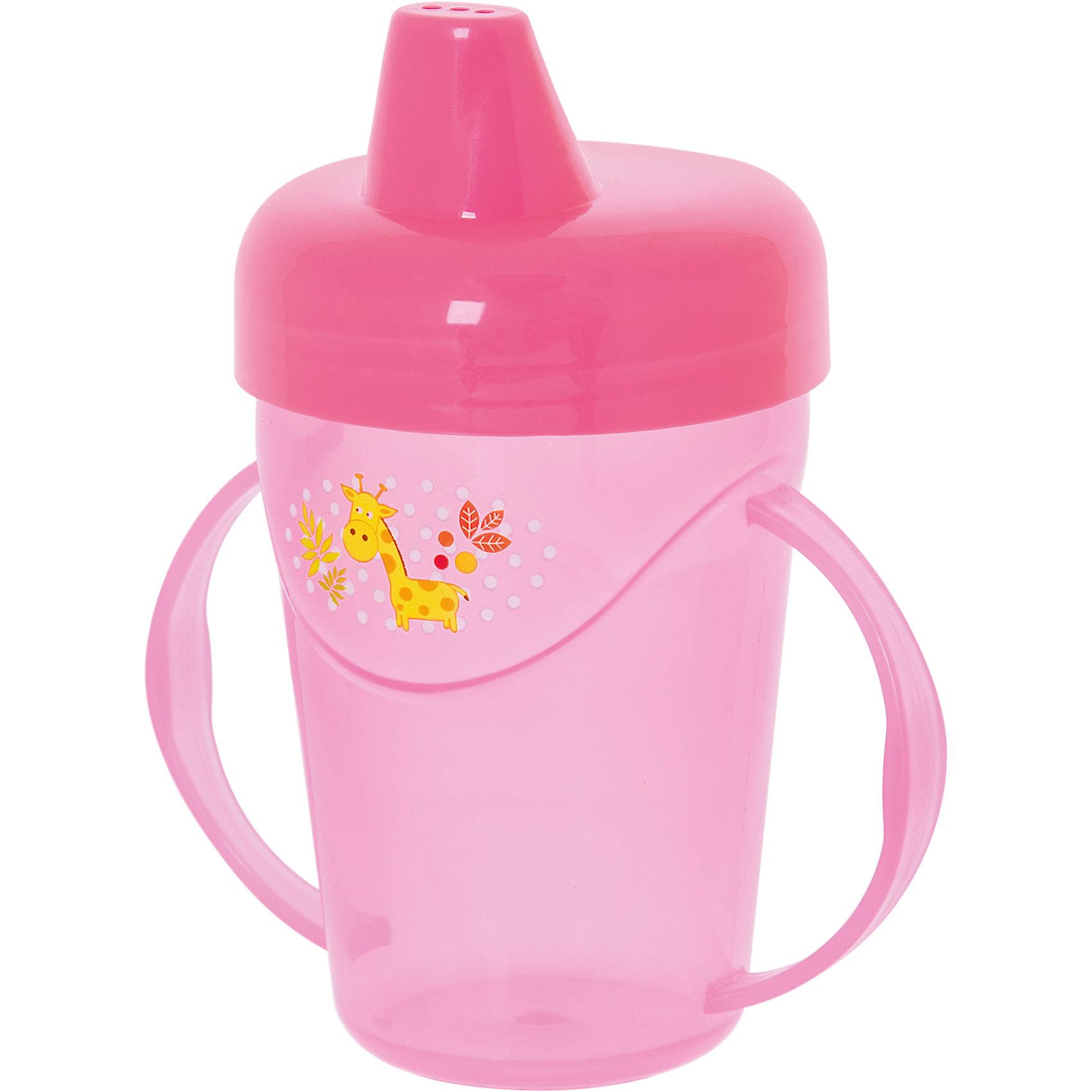 Поильник-непроливайка с ручками, 235 мл, Kurnosiki, розовыйПоильники<br>Характеристики:<br><br>• Предназначение: для приучения к кружке<br>• Материал: пластик, силикон<br>• Пол: для девочки<br>• Цвет: розовый<br>• Тематика рисунка: жираф<br>• Объем: 235 мл<br>• Тип носика: жесткий<br>• Удобный широкий носик<br>• Съемная крышка<br>• Силиконовый-клапан непроливайка<br>• По бокам на поильнике имеются ручки<br>• Можно использовать как для холодных, так и для горячих напитков<br>• Вес: 80 г<br>• Особенности ухода: разрешается мыть в посудомоечной машине<br><br>Поильник-непроливайка с ручками, 235 мл, Kurnosiki, фиолетовый изготовлен из безопасного и ударопрочного пластика, устойчивого к появлению царапин и сколов. Форма изделия выполнена с учетом особенностей размера детских ручек, поэтому малышу будет удобно держать поильник. <br><br>Крышка оснащена твердым широким носиком, который обеспечивает оптимальный поток жидкости. Крышка с носиком плотно и герметично фиксируется на стакане, дополнительно предусмотрен силиконовый клапан, который защищает от проливания и протекания. <br><br>Изделие выполнено в ярком дизайне: стакан декорирован изображением бегемотика. Без крышки изделие можно использовать в качестве стакана. С поильником-непроливайкой с ручками, 235 мл, Kurnosiki, фиолетовый ваш малыш легко и быстро научится пить из кружки!<br><br>Поильник-непроливайку с ручками, 235 мл, Kurnosiki, фиолетовый можно купить в нашем интернет-магазине.<br><br>Ширина мм: 80<br>Глубина мм: 120<br>Высота мм: 190<br>Вес г: 80<br>Возраст от месяцев: 4<br>Возраст до месяцев: 36<br>Пол: Женский<br>Возраст: Детский<br>SKU: 5428737