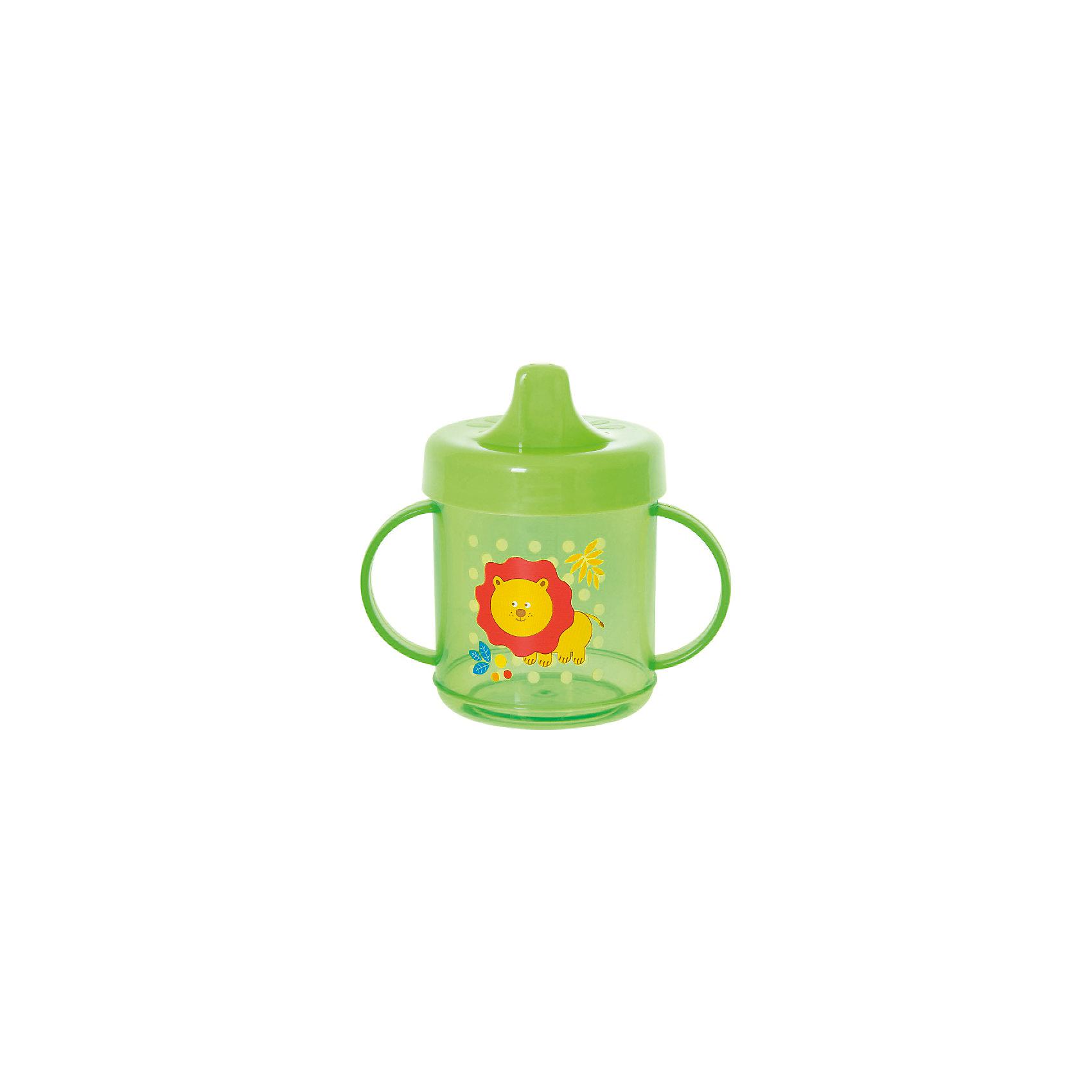 Поильник с ручками, 200 мл, Kurnosiki, зеленыйПоильники<br>Характеристики:<br><br>• Предназначение: для приучения к кружке<br>• Материал: пластик<br>• Пол: универсальный<br>• Цвет: зелёный<br>• Тематика рисунка: бегемотик<br>• Объем: 200 мл<br>• Тип носика: жесткий<br>• Удобный широкий носик<br>• Съемная крышка<br>• На прозрачном стакане нанесена шкала<br>• По бокам на поильнике имеются ручки<br>• Можно использовать как для холодных, так и для горячих напитков<br>• Вес: 100 г<br>• Особенности ухода: разрешается мыть в посудомоечной машине<br><br>Поильник прозрачный с ручками, 200 мл, Kurnosiki, фиолетовый изготовлен из безопасного и ударопрочного пластика, устойчивого к появлению царапин и сколов. Форма изделия выполнена с учетом особенностей размера детских ручек, по бокам имеются ручки, поэтому малышу будет удобно его держать самостоятельно. Крышка оснащена твердым широким носиком, который обеспечивает оптимальный поток жидкости. На прозрачном стакане нанесена шкала, что позволяет контролировать уровень жидкости. <br><br>Изделие выполнено в ярком дизайне: стакан декорирован изображением бегемотика. Без крышки изделие можно использовать в качестве стакана. С поильником прозрачным с ручками, 200 мл, Kurnosiki, фиолетовый ваш малыш легко и быстро научится пить из кружки!<br><br>Поильник прозрачный с ручками, 200 мл, Kurnosiki, фиолетовый можно купить в нашем интернет-магазине.<br><br>Ширина мм: 70<br>Глубина мм: 120<br>Высота мм: 165<br>Вес г: 104<br>Возраст от месяцев: 4<br>Возраст до месяцев: 36<br>Пол: Унисекс<br>Возраст: Детский<br>SKU: 5428744