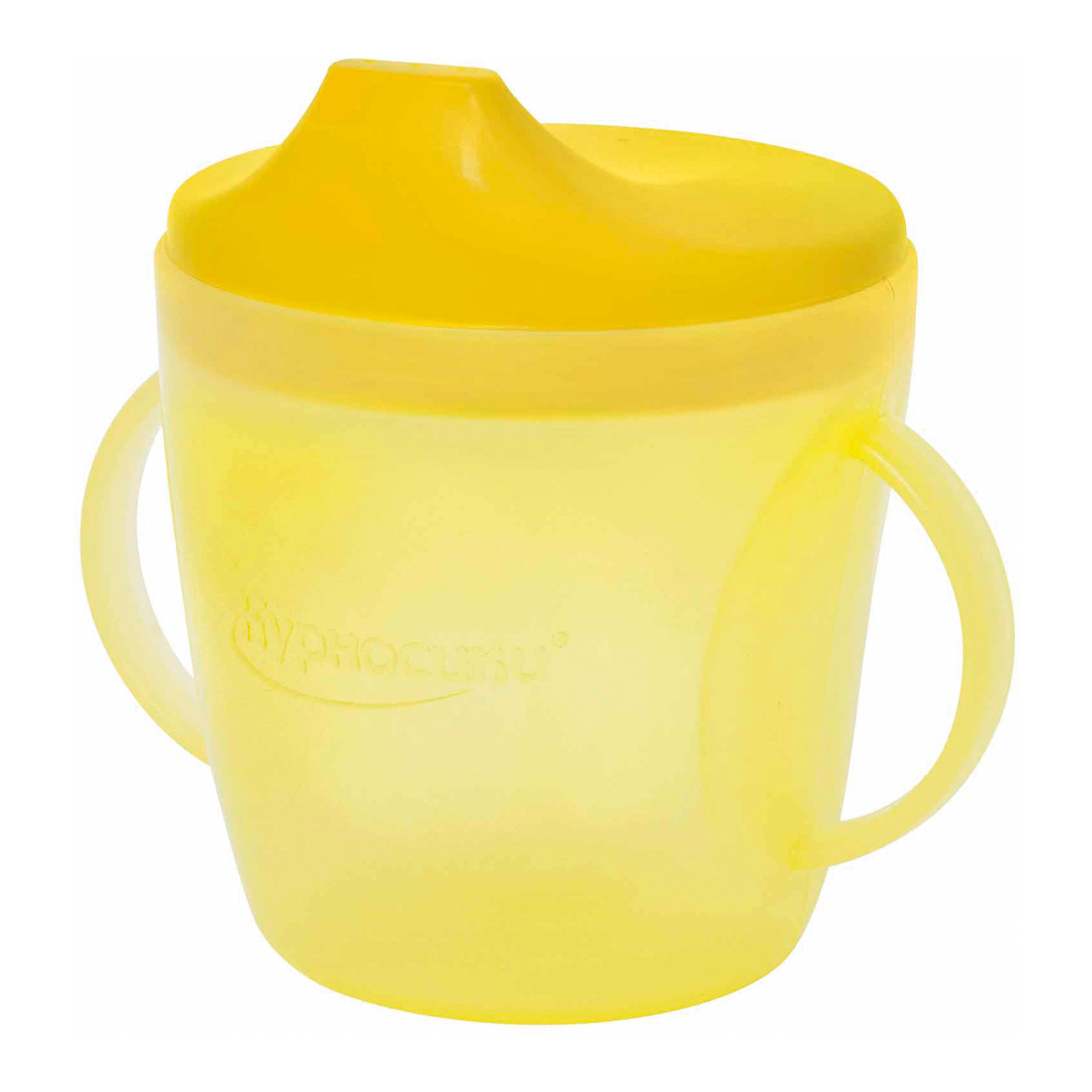 Поильник с ручками, 200мл, Kurnosiki, желтыйПоильники<br>Характеристики:<br><br>• Предназначение: для приучения к кружке<br>• Материал: пластик<br>• Пол: для девочки<br>• Цвет: жёлтый<br>• Тематика рисунка: без рисунка<br>• Объем: 200 мл<br>• Тип носика: жесткий<br>• Удобный широкий носик<br>• Съемная крышка<br>• По бокам на поильнике имеются ручки<br>• Можно использовать как для холодных, так и для горячих напитков<br>• Вес: 100 г<br>• Особенности ухода: разрешается мыть в посудомоечной машине<br><br>Поильник с ручками, 200 мл, Kurnosiki, синий изготовлен из безопасного и ударопрочного пластика, устойчивого к появлению царапин и сколов. Форма изделия выполнена с учетом особенностей размера детских ручек, по бокам имеются ручки, поэтому малышу будет удобно его держать самостоятельно. Крышка оснащена твердым широким носиком, который обеспечивает оптимальный поток жидкости. <br><br>Изделие выполнено в ярком дизайне. Без крышки изделие можно использовать в качестве стакана. С поильником с ручками, 200 мл, Kurnosiki, синий ваш малыш легко и быстро научится пить из кружки!<br><br>Поильник прозрачный с ручками, 200 мл, Kurnosiki, синий можно купить в нашем интернет-магазине.<br><br>Ширина мм: 80<br>Глубина мм: 175<br>Высота мм: 230<br>Вес г: 88<br>Возраст от месяцев: 4<br>Возраст до месяцев: 36<br>Пол: Унисекс<br>Возраст: Детский<br>SKU: 5428748