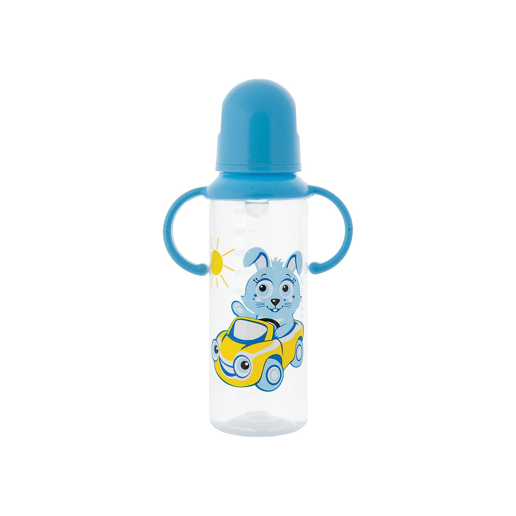 Бутылочка с ручками и силиконовой соской,250 мл, Kurnosiki, голубойХарактеристики:<br><br>• Наименование: бутылка для кормления<br>• Рекомендуемый возраст: от 0 месяцев<br>• Пол: для мальчика<br>• Объем: 250 мл<br>• Материал: силикон, пластик<br>• Цвет: голубой<br>• Рисунок: зайчонок Хрум-Хрум<br>• Форма соски: классическая<br>• Поток у соски: медленный<br>• Комплектация: бутылочка, соска, колпачок, ручки<br>• Съемные ручки<br>• Узкое горлышко<br>• Вес: 125 г<br>• Можно использовать в СВЧ и посудомоечной машине<br>• Особенности ухода: регулярная стерилизация и своевременная замена соски<br><br>Бутылочка с ручками и силиконовой соской, 250 мл, Kurnosiki, зеленый выполнена из прочного и жароустойчивого пластика, на котором не появляются царапины и сколы. У бутылочки узкое горлышко. В комплекте предусмотрены съемные ручки, при помощи которых малышу удобно держать бутылочку в руках самостоятельно. Силиконовая соска классической формы, не имеет цвета и запаха, обладает повышенными гипоаллергенными свойствами. <br><br>Изделие выполнено в брендовом дизайне: на бутылочку нанесено изображение одного из героев серии Курносиков ? лягушонка Ква-Ква. Рисунок устойчив к выцветанию и истиранию. Бутылочка с ручками и силиконовой соской, 250 мл, Kurnosiki, зеленый – это практичный и стильный предмет для кормления малыша!<br><br>Бутылочку с ручками и силиконовой соской, 250 мл, Kurnosiki, зеленый можно купить в нашем интернет-магазине.<br><br>Ширина мм: 55<br>Глубина мм: 105<br>Высота мм: 215<br>Вес г: 74<br>Возраст от месяцев: 6<br>Возраст до месяцев: 18<br>Пол: Мужской<br>Возраст: Детский<br>SKU: 5428780