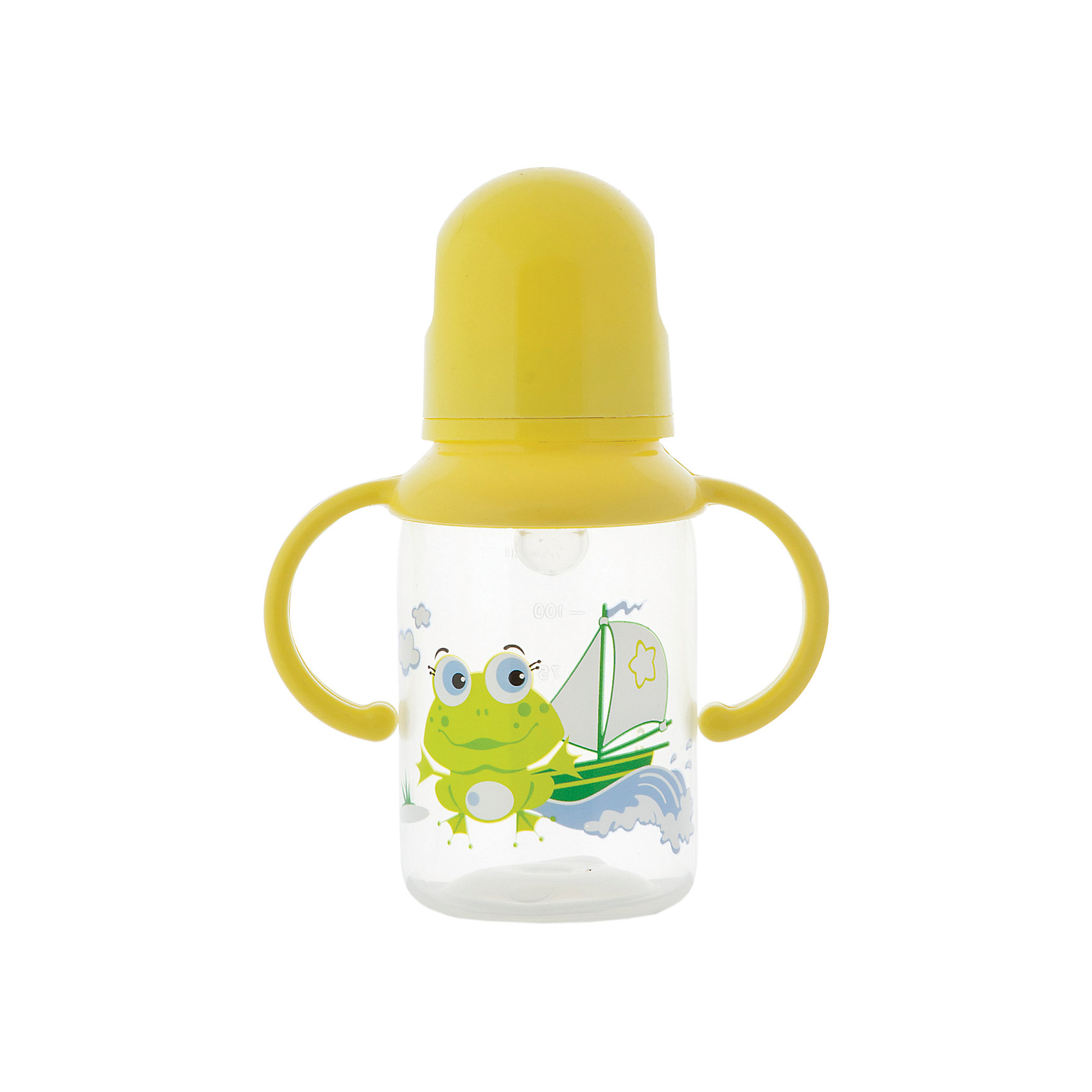 Бутылочка с ручками и силиконовой соской,125 мл, Kurnosiki, жёлтыйБутылочки и аксессуары<br>Характеристики:<br><br>• Наименование: бутылка для кормления<br>• Рекомендуемый возраст: от 0 месяцев<br>• Пол: универсальный<br>• Объем: 125 мл<br>• Материал: силикон, пластик<br>• Цвет: жёлтый<br>• Рисунок: лягушонок Ква-Ква<br>• Форма соски: классическая<br>• Поток у соски: медленный<br>• Комплектация: бутылочка, соска, колпачок, ручки<br>• Съемные ручки<br>• Узкое горлышко<br>• Вес: 100 г<br>• Можно использовать в СВЧ и посудомоечной машине<br>• Особенности ухода: регулярная стерилизация и своевременная замена соски<br><br>Бутылочка с ручками и силиконовой соской, 125 мл, Kurnosiki, зеленый выполнена из прочного и жароустойчивого пластика, на котором не появляются царапины и сколы. У бутылочки узкое горлышко. В комплекте предусмотрены съемные ручки, при помощи которых малышу удобно держать бутылочку в руках самостоятельно. Силиконовая соска классической формы, не имеет цвета и запаха, обладает повышенными гипоаллергенными свойствами. <br><br>Изделие выполнено в брендовом дизайне: на бутылочку нанесено изображение одного из героев серии Курносиков ? лягушонка Ква-Ква. Рисунок устойчив к выцветанию и истиранию. Бутылочка с ручками и силиконовой соской, 125 мл, Kurnosiki, зеленый – это практичный и стильный предмет для кормления малыша!<br><br>Бутылочку с ручками и силиконовой соской, 125 мл, Kurnosiki, зеленый можно купить в нашем интернет-магазине.<br><br>Ширина мм: 55<br>Глубина мм: 105<br>Высота мм: 170<br>Вес г: 71<br>Возраст от месяцев: 6<br>Возраст до месяцев: 18<br>Пол: Унисекс<br>Возраст: Детский<br>SKU: 5428781