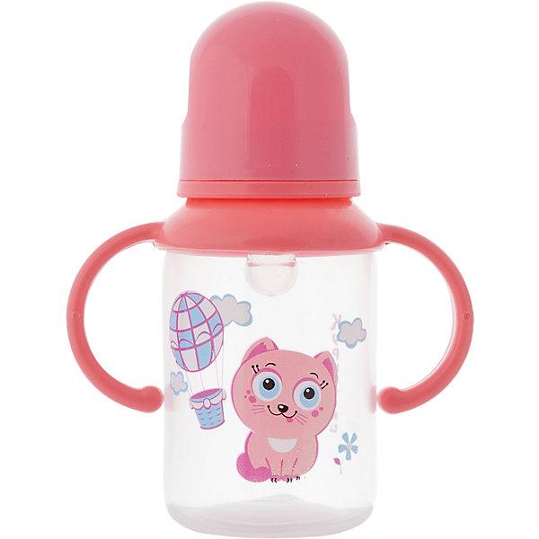 Бутылочка с ручками и силиконовой соской,125 мл, Kurnosiki, розовыйБутылочки и аксессуары<br>Характеристики:<br><br>• Наименование: бутылка для кормления<br>• Рекомендуемый возраст: от 0 месяцев<br>• Пол: для девочки<br>• Объем: 125 мл<br>• Материал: силикон, пластик<br>• Цвет: розовый<br>• Рисунок: котёнок Мяу-Мяу<br>• Форма соски: классическая<br>• Поток у соски: медленный<br>• Комплектация: бутылочка, соска, колпачок, ручки<br>• Съемные ручки<br>• Узкое горлышко<br>• Вес: 100 г<br>• Можно использовать в СВЧ и посудомоечной машине<br>• Особенности ухода: регулярная стерилизация и своевременная замена соски<br><br>Бутылочка с ручками и силиконовой соской, 125 мл, Kurnosiki, зеленый выполнена из прочного и жароустойчивого пластика, на котором не появляются царапины и сколы. У бутылочки узкое горлышко. В комплекте предусмотрены съемные ручки, при помощи которых малышу удобно держать бутылочку в руках самостоятельно. Силиконовая соска классической формы, не имеет цвета и запаха, обладает повышенными гипоаллергенными свойствами. <br><br>Изделие выполнено в брендовом дизайне: на бутылочку нанесено изображение одного из героев серии Курносиков ? лягушонка Ква-Ква. Рисунок устойчив к выцветанию и истиранию. Бутылочка с ручками и силиконовой соской, 125 мл, Kurnosiki, зеленый – это практичный и стильный предмет для кормления малыша!<br><br>Бутылочку с ручками и силиконовой соской, 125 мл, Kurnosiki, зеленый можно купить в нашем интернет-магазине.<br><br>Ширина мм: 55<br>Глубина мм: 105<br>Высота мм: 170<br>Вес г: 71<br>Возраст от месяцев: 6<br>Возраст до месяцев: 18<br>Пол: Женский<br>Возраст: Детский<br>SKU: 5428782