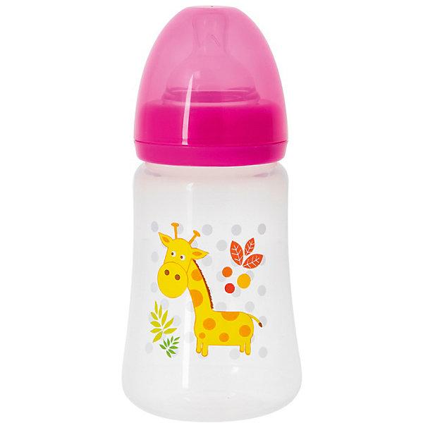 Бутылочка с силиконовой соской Жираф, 250 мл., Kurnosiki, розовыйБутылочки и аксессуары<br>Характеристики:<br><br>• Наименование: бутылка для кормления<br>• Рекомендуемый возраст: от 0 месяцев<br>• Пол: для девочки<br>• Объем: 250 мл<br>• Материал: силикон, пластик<br>• Цвет: розовый, желтый, оранжевый<br>• Рисунок: жираф<br>• Форма соски: классическая<br>• Поток у соски: медленный<br>• Комплектация: бутылочка, соска, колпачок<br>• Широкое горлышко<br>• Широкое дно<br>• Вес: 90 г<br>• Можно использовать в СВЧ и посудомоечной машине<br>• Особенности ухода: регулярная стерилизация и своевременная замена соски<br><br>Бутылочка для кормления с силиконовой соской, Kurnosiki выполнена из прочного и термостойкого пластика, на котором не появляются царапины и сколы. У бутылочки широкие дно и горлышко, благодаря чему в нее удобно наливать детское питание и без труда отмывать загрязнения. Силиконовая соска классической формы, не имеет цвета и запаха, обладает повышенными гипоаллергенными свойствами. <br><br>Изделие выполнено в брендовом дизайне: на бутылочку нанесено изображение жирафа. Рисунок устойчив к выцветанию и истиранию. Бутылочка для кормления с силиконовой соской, Kurnosiki – это практичный и стильный предмет для кормления малыша!<br><br>Бутылочку для кормления с силиконовой соской, Kurnosiki можно купить в нашем интернет-магазине.<br><br>Ширина мм: 70<br>Глубина мм: 80<br>Высота мм: 230<br>Вес г: 93<br>Возраст от месяцев: 0<br>Возраст до месяцев: 18<br>Пол: Женский<br>Возраст: Детский<br>SKU: 5428784