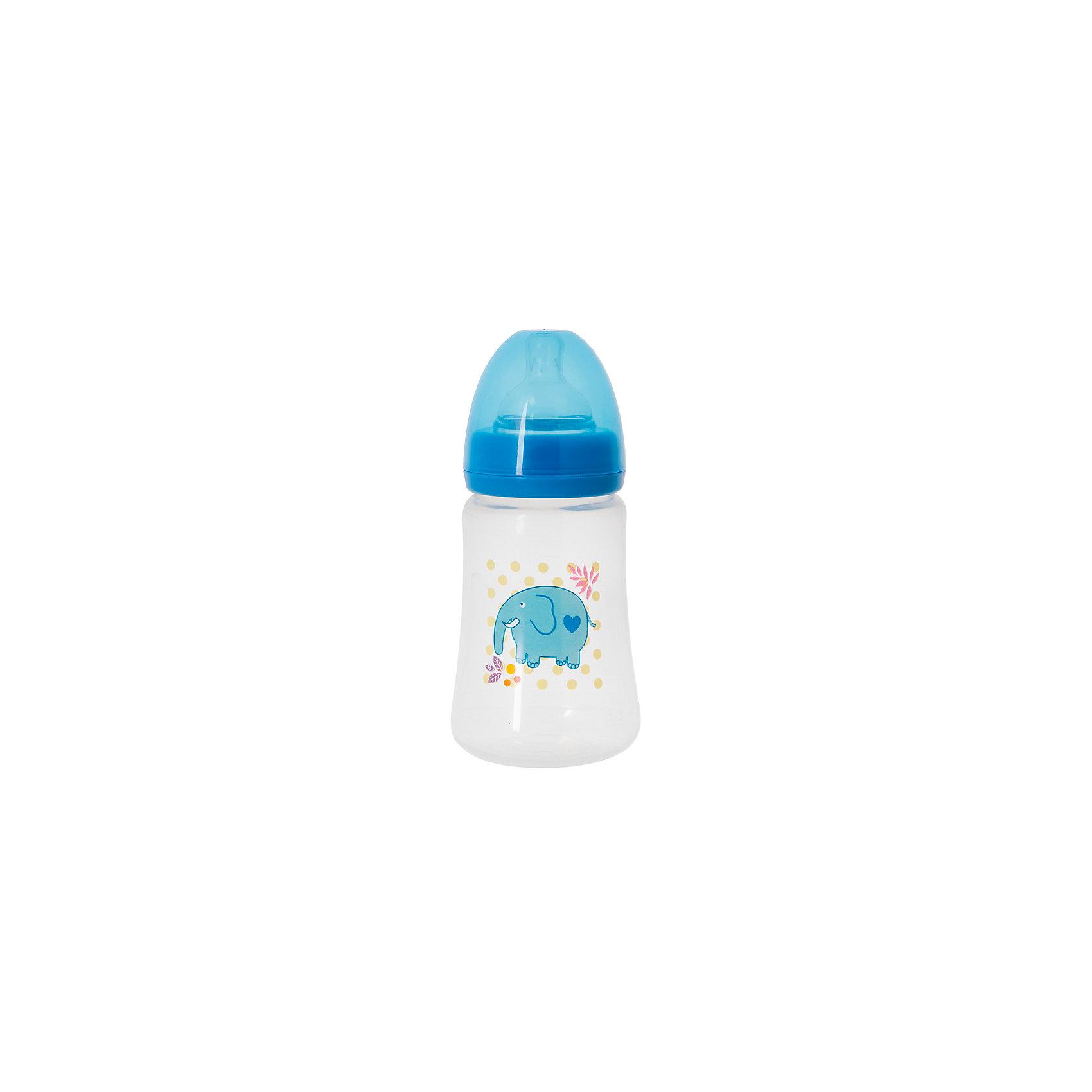 Бутылочка для кормления с силиконовой соской Слон, 250 мл., Kurnosiki, синийБутылочки и аксессуары<br>Характеристики:<br><br>• Наименование: бутылка для кормления<br>• Рекомендуемый возраст: от 0 месяцев<br>• Пол: для мальчика<br>• Объем: 250 мл<br>• Материал: силикон, пластик<br>• Цвет: голубой<br>• Рисунок: слон<br>• Форма соски: классическая<br>• Поток у соски: медленный<br>• Комплектация: бутылочка, соска, колпачок<br>• Широкое горлышко<br>• Широкое дно<br>• Вес: 90 г<br>• Можно использовать в СВЧ и посудомоечной машине<br>• Особенности ухода: регулярная стерилизация и своевременная замена соски<br><br>Бутылочка для кормления с силиконовой соской, Kurnosiki выполнена из прочного и термостойкого пластика, на котором не появляются царапины и сколы. У бутылочки широкие дно и горлышко, благодаря чему в нее удобно наливать детское питание и без труда отмывать загрязнения. Силиконовая соска классической формы, не имеет цвета и запаха, обладает повышенными гипоаллергенными свойствами. <br><br>Изделие выполнено в брендовом дизайне: на бутылочку нанесено изображение слона. Рисунок устойчив к выцветанию и истиранию. Бутылочка для кормления с силиконовой соской, Kurnosiki – это практичный и стильный предмет для кормления малыша!<br><br>Бутылочку для кормления с силиконовой соской, Kurnosiki можно купить в нашем интернет-магазине.<br><br>Ширина мм: 70<br>Глубина мм: 80<br>Высота мм: 230<br>Вес г: 93<br>Возраст от месяцев: 0<br>Возраст до месяцев: 18<br>Пол: Мужской<br>Возраст: Детский<br>SKU: 5428786