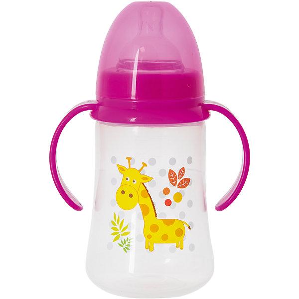 Бутылочка для кормления с ручками и силиконовой соской Жираф, 250 мл, Kurnosiki, розовыйБутылочки и аксессуары<br>Характеристики:<br><br>• Наименование: бутылка для кормления<br>• Рекомендуемый возраст: от 0 месяцев<br>• Пол: для девочки<br>• Объем: 250 мл<br>• Материал: силикон, пластик<br>• Цвет: розовый<br>• Рисунок: жираф<br>• Форма соски: классическая<br>• Поток у соски: медленный<br>• Комплектация: бутылочка, соска, колпачок<br>• Широкое горлышко<br>• Широкое дно<br>• Съемные ручки<br>• Вес: 120 г<br>• Можно использовать в СВЧ и посудомоечной машине<br>• Особенности ухода: регулярная стерилизация и своевременная замена соски<br><br>Бутылочка для кормления с ручками и силиконовой соской, 250 мл, Kurnosiki выполнена из прочного и термостойкого пластика, на котором не появляются царапины и сколы. У бутылочки широкие дно и горлышко, благодаря чему в нее удобно наливать детское питание и без труда отмывать загрязнения. В комплекте предусмотрены съемные ручки, при помощи которых малышу удобно держать бутылочку в руках самостоятельно. Силиконовая соска классической формы, не имеет цвета и запаха, обладает повышенными гипоаллергенными свойствами. <br><br>Изделие выполнено в брендовом дизайне: на бутылочку нанесено изображение жирафа. Рисунок устойчив к выцветанию и истиранию. Бутылочка для кормления с ручками и силиконовой соской, 250 мл, Kurnosiki – это практичный и стильный предмет для кормления малыша!<br><br>Бутылочку для кормления с ручками и силиконовой соской, 250 мл, Kurnosiki можно купить в нашем интернет-магазине.<br><br>Ширина мм: 335<br>Глубина мм: 434<br>Высота мм: 245<br>Вес г: 108<br>Возраст от месяцев: 0<br>Возраст до месяцев: 18<br>Пол: Женский<br>Возраст: Детский<br>SKU: 5428788