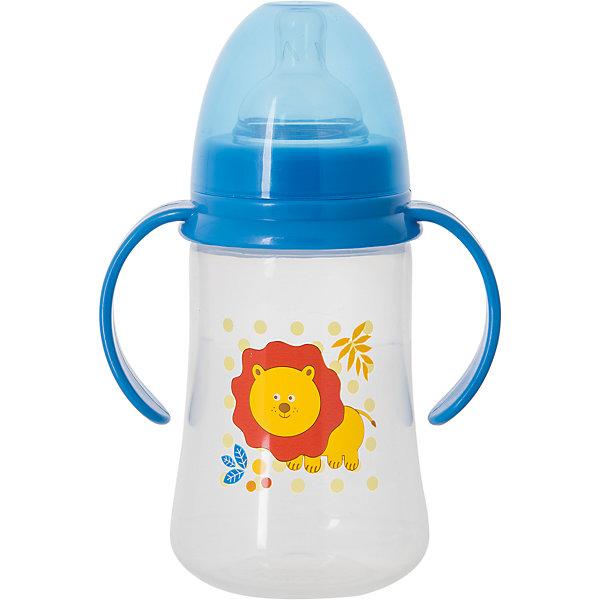 Бутылочка для кормления с ручками и силиконовой соской Лев, 250 мл, Kurnosiki, синийБутылочки и аксессуары<br>Характеристики:<br><br>• Наименование: бутылка для кормления<br>• Рекомендуемый возраст: от 0 месяцев<br>• Пол: для мальчика<br>• Объем: 250 мл<br>• Материал: силикон, пластик<br>• Цвет: голубой<br>• Рисунок: лев<br>• Форма соски: классическая<br>• Поток у соски: медленный<br>• Комплектация: бутылочка, соска, колпачок<br>• Широкое горлышко<br>• Широкое дно<br>• Съемные ручки<br>• Вес: 120 г<br>• Можно использовать в СВЧ и посудомоечной машине<br>• Особенности ухода: регулярная стерилизация и своевременная замена соски<br><br>Бутылочка для кормления с ручками и силиконовой соской, 250 мл, Kurnosiki выполнена из прочного и термостойкого пластика, на котором не появляются царапины и сколы. У бутылочки широкие дно и горлышко, благодаря чему в нее удобно наливать детское питание и без труда отмывать загрязнения. В комплекте предусмотрены съемные ручки, при помощи которых малышу удобно держать бутылочку в руках самостоятельно. Силиконовая соска классической формы, не имеет цвета и запаха, обладает повышенными гипоаллергенными свойствами. <br><br>Изделие выполнено в брендовом дизайне: на бутылочку нанесено изображение льва. Рисунок устойчив к выцветанию и истиранию. Бутылочка для кормления с ручками и силиконовой соской, 250 мл, Kurnosiki – это практичный и стильный предмет для кормления малыша!<br><br>Бутылочку для кормления с ручками и силиконовой соской, 250 мл, Kurnosiki можно купить в нашем интернет-магазине.<br><br>Ширина мм: 335<br>Глубина мм: 434<br>Высота мм: 245<br>Вес г: 108<br>Возраст от месяцев: 0<br>Возраст до месяцев: 18<br>Пол: Мужской<br>Возраст: Детский<br>SKU: 5428789