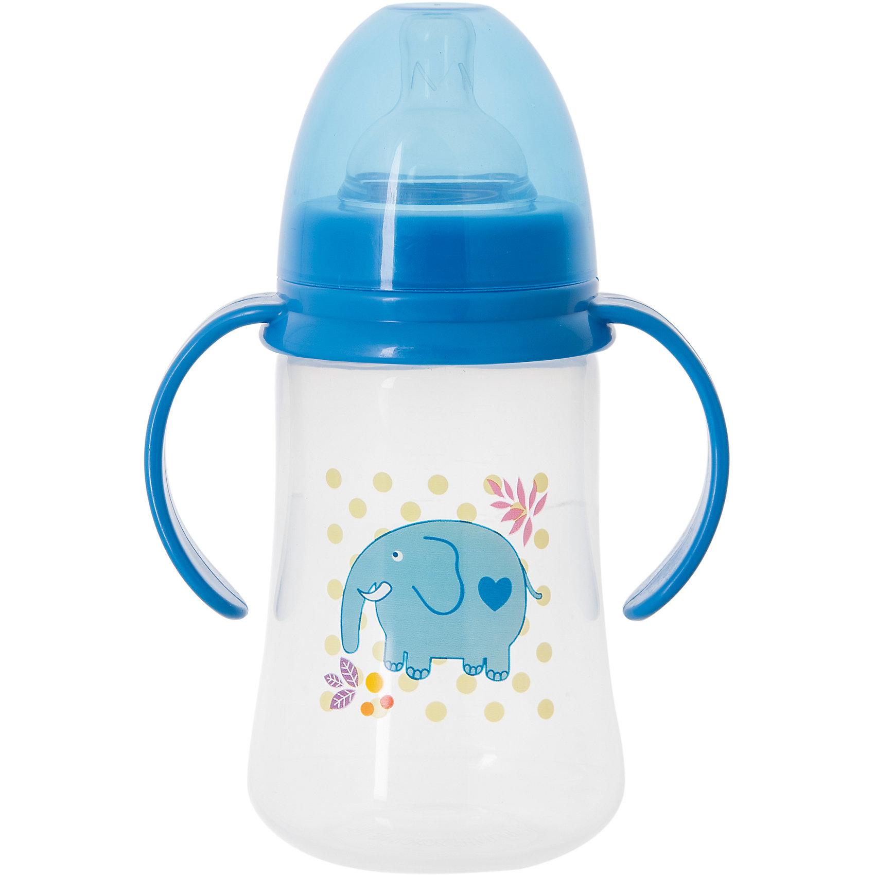 Бутылочка для кормления с ручками и силиконовой соской Слон, 250 мл, Kurnosiki, синийБутылочки и аксессуары<br>Характеристики:<br><br>• Наименование: бутылка для кормления<br>• Рекомендуемый возраст: от 0 месяцев<br>• Пол: для мальчика<br>• Объем: 250 мл<br>• Материал: силикон, пластик<br>• Цвет: голубой<br>• Рисунок: слон<br>• Форма соски: классическая<br>• Поток у соски: медленный<br>• Комплектация: бутылочка, соска, колпачок<br>• Широкое горлышко<br>• Широкое дно<br>• Съемные ручки<br>• Вес: 120 г<br>• Можно использовать в СВЧ и посудомоечной машине<br>• Особенности ухода: регулярная стерилизация и своевременная замена соски<br><br>Бутылочка для кормления с ручками и силиконовой соской, 250 мл, Kurnosiki выполнена из прочного и термостойкого пластика, на котором не появляются царапины и сколы. У бутылочки широкие дно и горлышко, благодаря чему в нее удобно наливать детское питание и без труда отмывать загрязнения. В комплекте предусмотрены съемные ручки, при помощи которых малышу удобно держать бутылочку в руках самостоятельно. Силиконовая соска классической формы, не имеет цвета и запаха, обладает повышенными гипоаллергенными свойствами. <br><br>Изделие выполнено в брендовом дизайне: на бутылочку нанесено изображение слона. Рисунок устойчив к выцветанию и истиранию. Бутылочка для кормления с ручками и силиконовой соской, 250 мл, Kurnosiki – это практичный и стильный предмет для кормления малыша!<br><br>Бутылочку для кормления с ручками и силиконовой соской, 250 мл, Kurnosiki можно купить в нашем интернет-магазине.<br><br>Ширина мм: 335<br>Глубина мм: 434<br>Высота мм: 245<br>Вес г: 108<br>Возраст от месяцев: 0<br>Возраст до месяцев: 18<br>Пол: Мужской<br>Возраст: Детский<br>SKU: 5428790