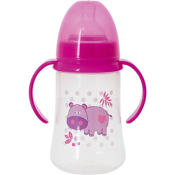 Бутылочка для кормления с ручками и силиконовой соской Бегемот, 250 мл, Kurnosiki, розовыйБутылочки и аксессуары<br>Характеристики:<br><br>• Наименование: бутылка для кормления<br>• Рекомендуемый возраст: от 0 месяцев<br>• Пол: для девочки<br>• Объем: 250 мл<br>• Материал: силикон, пластик<br>• Цвет: розовый<br>• Рисунок: бегемотик<br>• Форма соски: классическая<br>• Поток у соски: медленный<br>• Комплектация: бутылочка, соска, колпачок<br>• Широкое горлышко<br>• Широкое дно<br>• Съемные ручки<br>• Вес: 120 г<br>• Можно использовать в СВЧ и посудомоечной машине<br>• Особенности ухода: регулярная стерилизация и своевременная замена соски<br><br>Бутылочка для кормления с ручками и силиконовой соской, 250 мл, Kurnosiki выполнена из прочного и термостойкого пластика, на котором не появляются царапины и сколы. У бутылочки широкие дно и горлышко, благодаря чему в нее удобно наливать детское питание и без труда отмывать загрязнения. В комплекте предусмотрены съемные ручки, при помощи которых малышу удобно держать бутылочку в руках самостоятельно. Силиконовая соска классической формы, не имеет цвета и запаха, обладает повышенными гипоаллергенными свойствами. <br><br>Изделие выполнено в брендовом дизайне: на бутылочку нанесено изображение бегемотика. Рисунок устойчив к выцветанию и истиранию. Бутылочка для кормления с ручками и силиконовой соской, 250 мл, Kurnosiki – это практичный и стильный предмет для кормления малыша!<br><br>Бутылочку для кормления с ручками и силиконовой соской, 250 мл, Kurnosiki можно купить в нашем интернет-магазине.<br><br>Ширина мм: 335<br>Глубина мм: 434<br>Высота мм: 245<br>Вес г: 108<br>Возраст от месяцев: 0<br>Возраст до месяцев: 18<br>Пол: Женский<br>Возраст: Детский<br>SKU: 5428791
