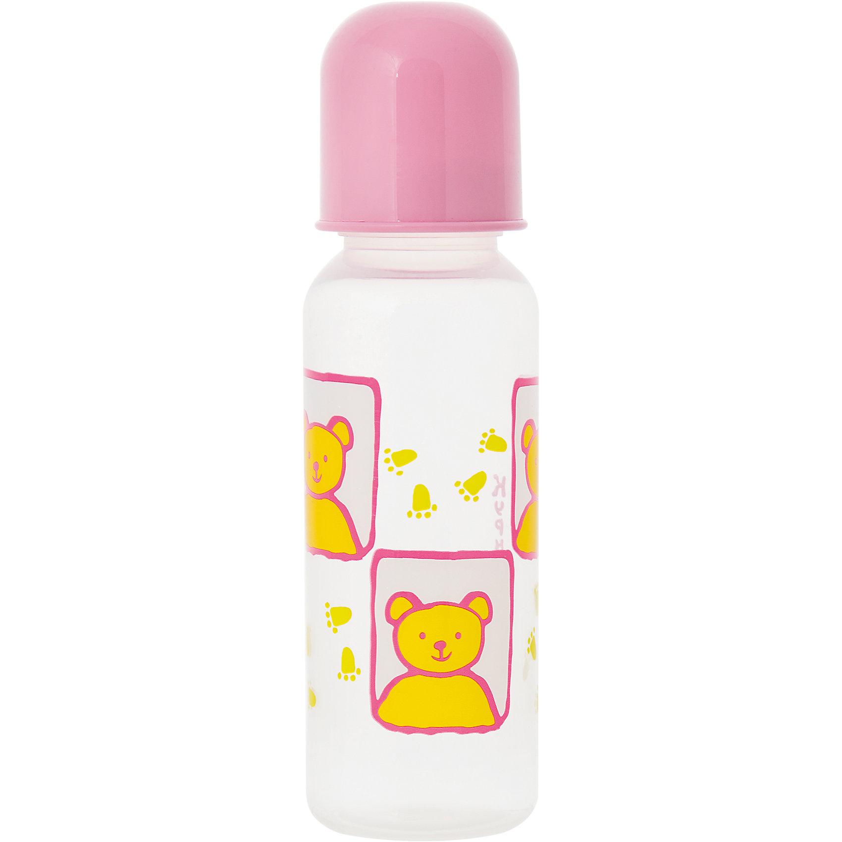 Бутылочка с крышкой и силиконовой соской, 250 мл, Kurnosiki, розовыйХарактеристики:<br><br>• Наименование: бутылка для кормления<br>• Рекомендуемый возраст: от 0 месяцев<br>• Пол: для девочки<br>• Объем: 250 мл<br>• Материал: силикон, пластик<br>• Цвет: розовый, желтый<br>• Рисунок: медвежонок<br>• Форма соски: классическая<br>• Поток у соски: медленный<br>• Комплектация: бутылочка, соска, колпачок<br>• Узкое горлышко<br>• Вес: 90 г<br>• Можно использовать в СВЧ и посудомоечной машине<br>• Особенности ухода: регулярная стерилизация и своевременная замена соски<br><br>Бутылочка с крышкой и силиконовой соской, 250 мл, Kurnosiki, розовый выполнена из прочного и термостойкого пластика, на котором не появляются царапины и сколы. У бутылочки узкое горлышко. Силиконовая соска классической формы, не имеет цвета и запаха, обладает повышенными гипоаллергенными свойствами. <br><br>Изделие выполнено в стильном дизайне: на бутылочку нанесено брендовое изображение медвежонка. Рисунок устойчив к выцветанию и истиранию. Бутылочка с крышкой и силиконовой соской, 250 мл, Kurnosiki, розовый – это практичный и стильный предмет для кормления малыша!<br><br>Бутылочку с крышкой и силиконовой соской, 250 мл, Kurnosiki, розовый можно купить в нашем интернет-магазине.<br><br>Ширина мм: 55<br>Глубина мм: 75<br>Высота мм: 210<br>Вес г: 78<br>Возраст от месяцев: 0<br>Возраст до месяцев: 18<br>Пол: Женский<br>Возраст: Детский<br>SKU: 5428793