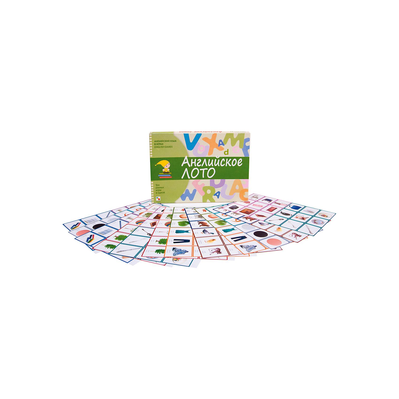 Карточки Английский язык в играх: английское лото, Школа семи гномовИностранный язык<br>Пособие Английский язык в играх. Английское лото, Школа семи гномов.<br><br>Характеристики:<br><br>• Издательство: МОЗАИКА-СИНТЕЗ<br>• ISBN: 4640005840162<br>• Тип: Развивающие игры<br>• Возраст: 5-6 лет.<br>• Размер упаковки: 290х210х40мм.<br>• Вес: 250г.<br>• Состав игры: 12 больших карточек с 9 картинками и словами на английском языке, на обратной стороне - перевод. 108 маленьких карточек. На обратной стороне - перевод, соответствующей другой карточки.<br><br>Английский язык в играх Английское лото - это уникальное пособие, которое заинтересует не только детей, но и взрослых, которые начинают учить английский язык. В набор Английское лото Школа семи гномов входит:<br><br>Игра Перевертыши:<br>Игра происходит подобно пасьянсу. Один из наборов с маленькими карточками кладется лицевой стороной вверх. Берется карточка под названием Start, и зачитывается слово на обороте. Среди имеющихся карточек находится та, картинка на которой соответствует прочитанному слову. Так постепенно открываются все карточки.<br><br>Игра Бинго:<br>Каждый из игроков кладет перед собой одну или несколько больших карточек. В данном случае, потребуется ведущий, который будет по одной вытаскивать маленькие карточки и на английском языке называть предметы, изображенные на них. Тот игрок, у которого есть соответствующий рисунок, закрывает его маленькой карточкой. Цель игры - закрыть большую карточку по вертикали, горизонтали или диагонали, после надо будет выкрикнуть слово Bingo<br><br>Игра Лото:<br>Правила аналогичны игре Бинго, в конечном итоге необходимо полностью закрыть большую карточку.<br><br>Пособие Английский язык в играх. Английское лото, Школа семи гномов, можно купить в нашем интернет – магазине<br><br>Ширина мм: 40<br>Глубина мм: 290<br>Высота мм: 210<br>Вес г: 250<br>Возраст от месяцев: 60<br>Возраст до месяцев: 72<br>Пол: Унисекс<br>Возраст: Детский<br>SKU: 5428883
