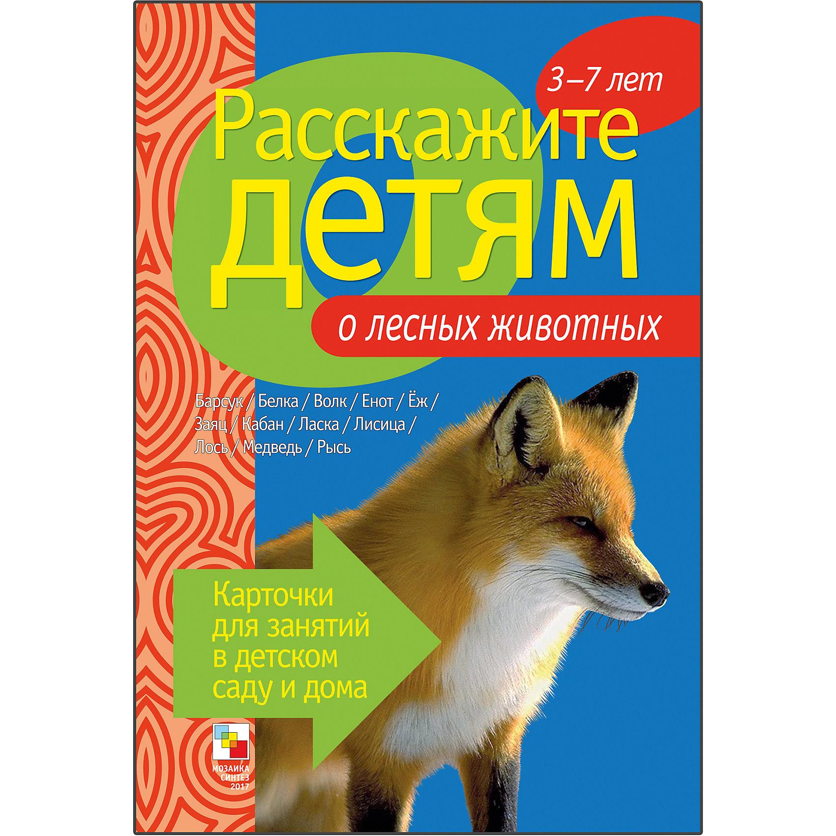 Карточки Расскажите детям о лесных животных, Мозаика-СинтезОбучающие карточки<br>Пособие Расскажите детям о лесных животных, Мозаика-Синтез.<br><br>Характеристики:<br><br>• Издательство: МОЗАИКА-СИНТЕЗ<br>• ISBN: 9785867758424<br>• Тип: папка с карточками, обложка твердая.<br>• Возраст: от 3-7 лет.<br>• Размер книги: 210х150х5 мм.<br>• Количество страниц: 12<br><br>Пособие с яркими четкими картинками поможет Вам рассказать малышам о лесных животных. Они узнают много нового и интересного о барсуках, белках, лисах, ласках, медведях и о многих других. На оборотной стороне карточек содержатся необходимые сведения о них. Эта информация поможет сделать ваш рассказ увлекательным и познавательным для каждого малыша.<br><br>Пособие Расскажите детям о лесных животных, Мозаика-Синтез, можно купить в нашем интернет – магазине.<br><br>Ширина мм: 5<br>Глубина мм: 150<br>Высота мм: 210<br>Вес г: 83<br>Возраст от месяцев: 36<br>Возраст до месяцев: 84<br>Пол: Унисекс<br>Возраст: Детский<br>SKU: 5428918
