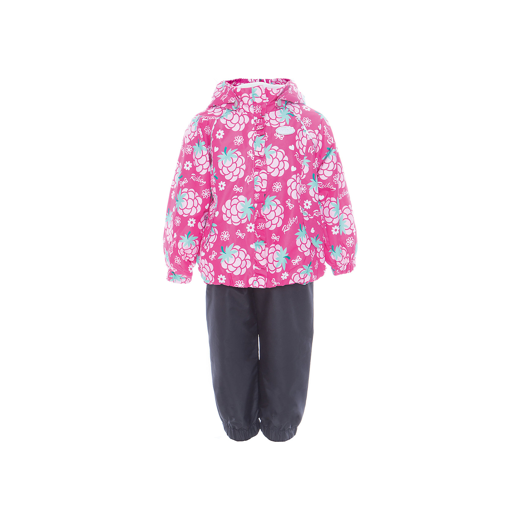 Комплект Reike для девочкиКомплект Reike для девочки<br>Комплект Reike Blackberry fuchsia выполнен из ветрозащитной, водонепроницаемой и дышащей мембранной ткани, декорированной ярким принтом. Подкладка - 100% хлопок с комфортными велюровыми вставками на воротнике и манжетах. Куртка дополнена съемным капюшоном, двумя карманами на липучках, а также светоотражающими элементами. Ветрозащитная планка в виде рюши не допускает проникновения холодного воздуха. Эластичная талия полукомбинезона и регулируемые подтяжки гарантируют посадку по фигуре, длинная молния впереди облегчает процесс одевания. Полукомбинезон оснащен боковым карманом на молнии и съемными штрипками. Без утеплителя. Базовый уровень. Коэффициент воздухопроницаемости комплекта 2000гр/м2/24 ч. Водоотталкивающее покрытие: 2000 мм. Состав: 100% полиэстер, подкладка: 100% хлопок.<br>Состав:<br>100% ПЭ  утеплитель: 100% ПЭ  подкладка: 100% хлопок<br><br>Ширина мм: 215<br>Глубина мм: 88<br>Высота мм: 191<br>Вес г: 336<br>Цвет: фуксия<br>Возраст от месяцев: 36<br>Возраст до месяцев: 48<br>Пол: Женский<br>Возраст: Детский<br>Размер: 104,86,92,98<br>SKU: 5429939