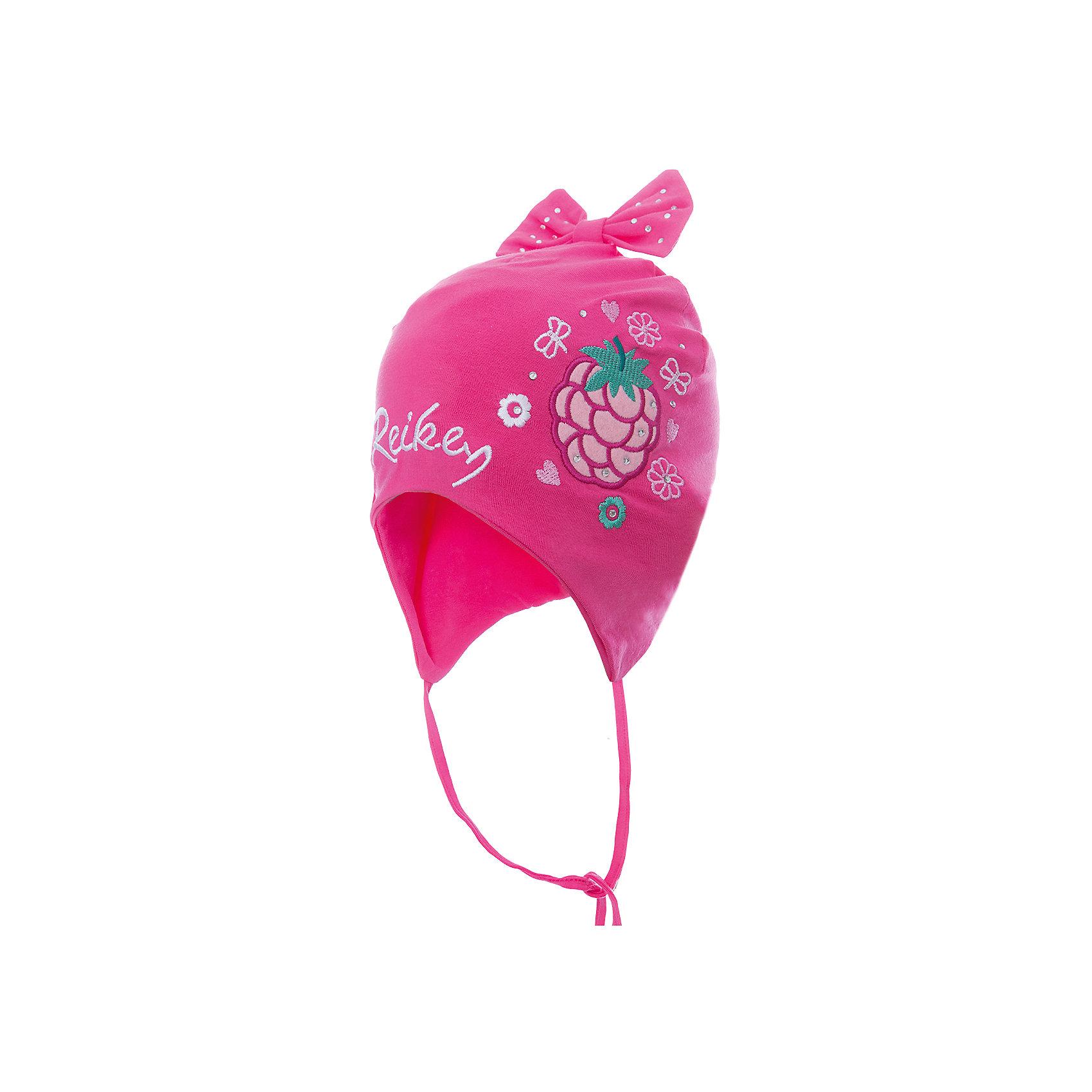 Шапка Reike для девочкиШапки и шарфы<br>Характеристики товара:<br><br>• цвет: розовый<br>• состав: 100% хлопок<br>• подкладка: 100% хлопок<br>• температурный режим: от +5° С до +15° С<br>• завязки во всех размерах<br>• декорирована вышивкой и стразами<br>• декоративный бант наверху<br>• логотип Reike спереди<br>• страна бренда: Финляндия<br><br>Демисезонная одежда может быть очень красивой и удобной! Новая коллекция от известного финского производителя Reike отличается ярким дизайном, продуманностью и комфортом! Эта модель разработана специально для детей - она учитывает особенности их физиологии, а также новые тенденции в европейской моде. Стильная и удобная вещь!<br><br>Шапку для девочки от популярного бренда Reike можно купить в нашем интернет-магазине.<br><br>Ширина мм: 89<br>Глубина мм: 117<br>Высота мм: 44<br>Вес г: 155<br>Цвет: фуксия<br>Возраст от месяцев: 6<br>Возраст до месяцев: 9<br>Пол: Женский<br>Возраст: Детский<br>Размер: 46,50,48<br>SKU: 5430092