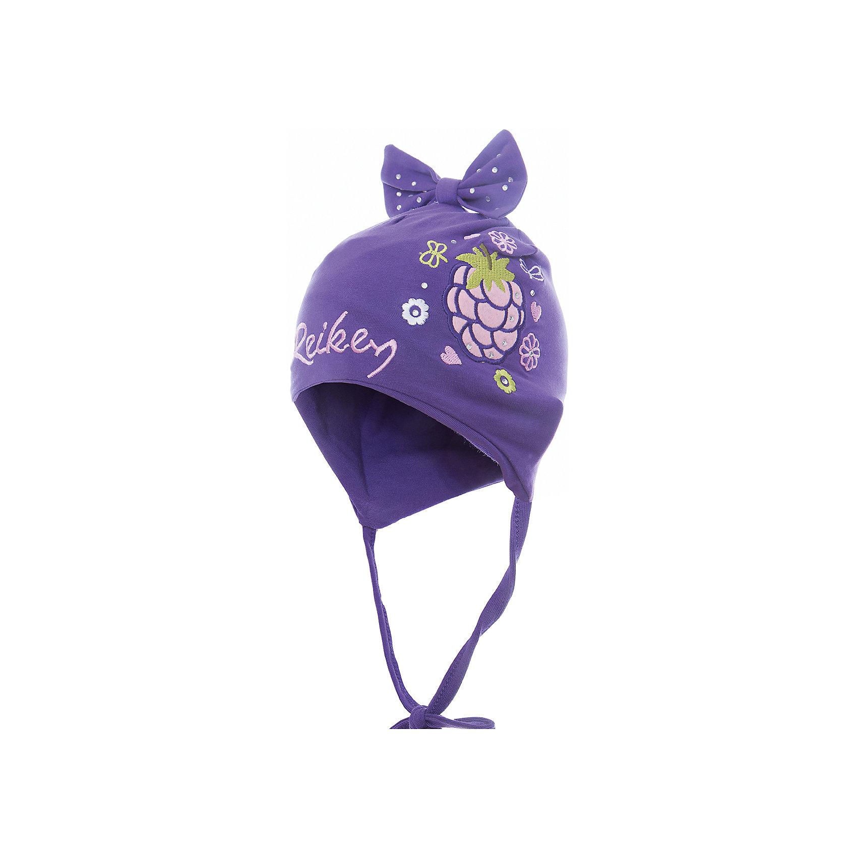 Шапка Reike для девочкиШапки и шарфы<br>Характеристики товара:<br><br>• цвет: фиолетовый<br>• состав: 100% хлопок<br>• подкладка: 100% хлопок<br>• температурный режим: от +5° С до +15° С<br>• завязки во всех размерах<br>• декорирована вышивкой и стразами<br>• декоративный бант наверху<br>• логотип Reike спереди<br>• страна бренда: Финляндия<br><br>Демисезонная одежда может быть очень красивой и удобной! Новая коллекция от известного финского производителя Reike отличается ярким дизайном, продуманностью и комфортом! Эта модель разработана специально для детей - она учитывает особенности их физиологии, а также новые тенденции в европейской моде. Стильная и удобная вещь!<br><br>Шапку для девочки от популярного бренда Reike можно купить в нашем интернет-магазине.<br><br>Ширина мм: 89<br>Глубина мм: 117<br>Высота мм: 44<br>Вес г: 155<br>Цвет: лиловый<br>Возраст от месяцев: 6<br>Возраст до месяцев: 9<br>Пол: Женский<br>Возраст: Детский<br>Размер: 46,50,48<br>SKU: 5430096
