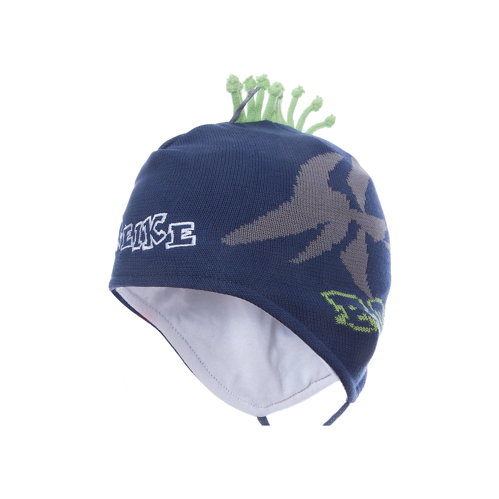 Шапка Reike для мальчикаШапки и шарфы<br>Характеристики товара:<br><br>• цвет: синий<br>• состав: 100% хлопок<br>• подкладка: 100% хлопок<br>• температурный режим: от +5° С до +15° С<br>• завязки во всех размерах<br>• декорирована вышивкой и вязаным узором<br>• декоративный ирокез наверху<br>• мягкий материал<br>• страна бренда: Финляндия<br><br>Демисезонная одежда может быть очень красивой и удобной! Новая коллекция от известного финского производителя Reike отличается ярким дизайном, продуманностью и комфортом! Эта модель разработана специально для детей - она учитывает особенности их физиологии, а также новые тенденции в европейской моде. Она отлично сочетается с обувью разных цветов и фасонов. Стильная и удобная вещь!<br><br>Шапку для мальчика от популярного бренда Reike можно купить в нашем интернет-магазине.<br><br>Ширина мм: 89<br>Глубина мм: 117<br>Высота мм: 44<br>Вес г: 155<br>Цвет: полуночно-синий<br>Возраст от месяцев: 24<br>Возраст до месяцев: 36<br>Пол: Мужской<br>Возраст: Детский<br>Размер: 50,46,48<br>SKU: 5430136