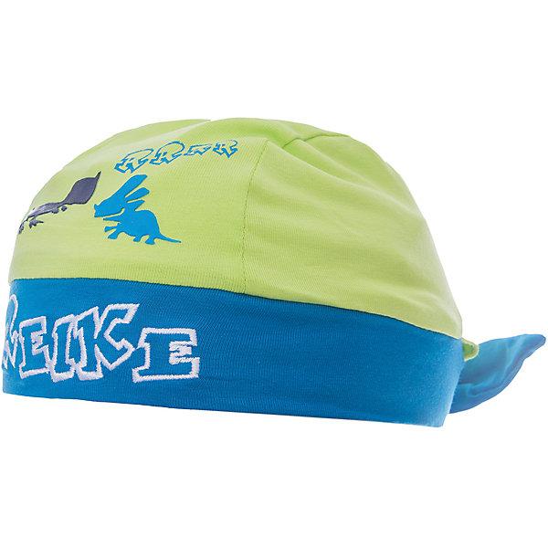 Бандана Reike для мальчикаШапочки<br>Характеристики товара:<br><br>• цвет: салатовый/голубой<br>• состав: 100% хлопок<br>• декорирована принтом и вышивкой<br>• мягкий материал<br>• страна бренда: Финляндия<br><br>Новая коллекция от известного финского производителя Reike отличается ярким дизайном, продуманностью и комфортом! Эта модель разработана специально для детей - она учитывает особенности их физиологии, а также новые тенденции в европейской моде. Она отлично сочетается с обувью разных цветов и фасонов. Стильная и удобная вещь!<br><br>Бандану для мальчика от популярного бренда Reike можно купить в нашем интернет-магазине.<br><br>Ширина мм: 89<br>Глубина мм: 117<br>Высота мм: 44<br>Вес г: 155<br>Цвет: зеленый<br>Возраст от месяцев: 5<br>Возраст до месяцев: 6<br>Пол: Мужской<br>Возраст: Детский<br>Размер: 44,46,48<br>SKU: 5430156