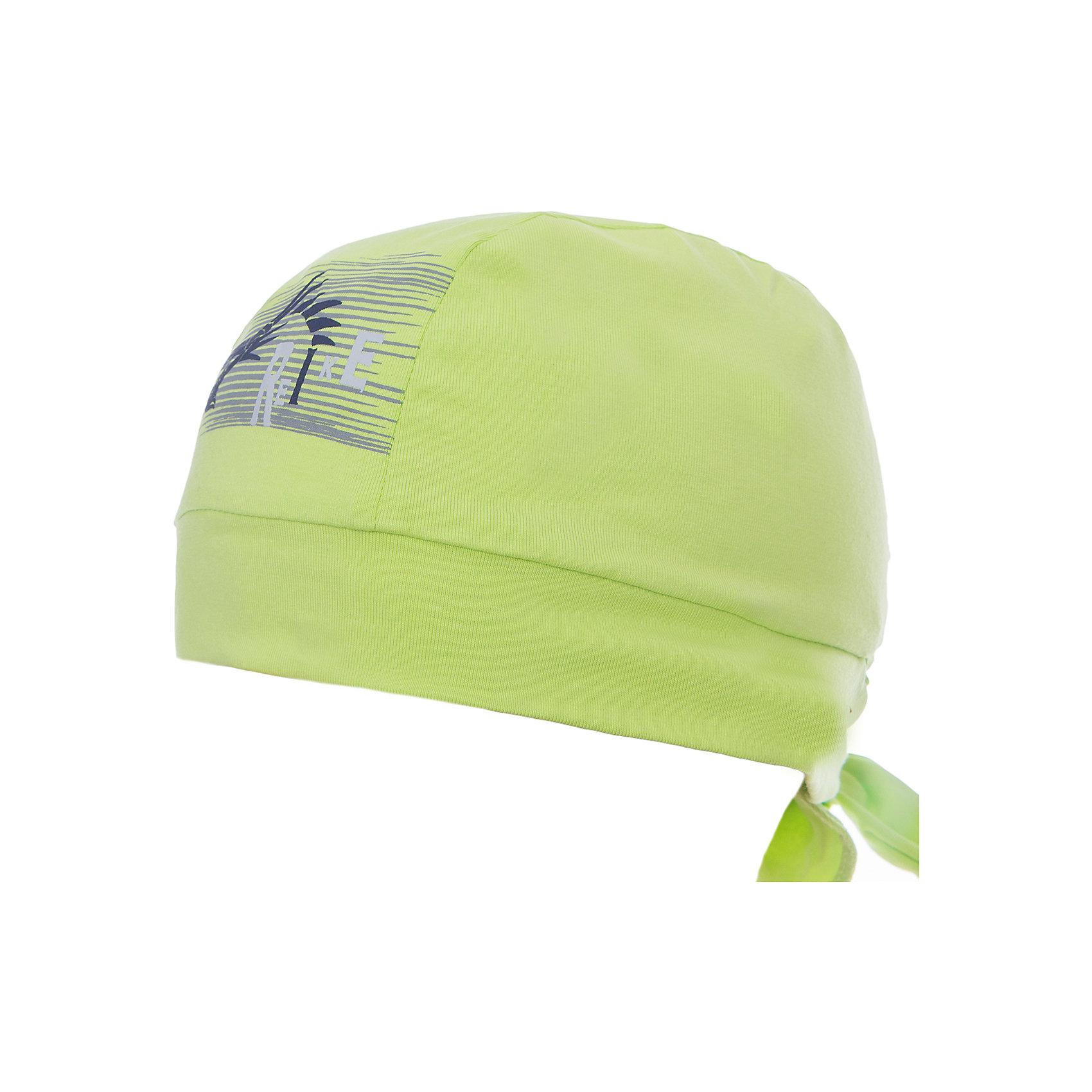 Бандана Reike для мальчикаШапки и шарфы<br>Характеристики товара:<br><br>• цвет: салатовый<br>• состав: 100% хлопок<br>• декорирована принтом <br>• мягкий материал<br>• страна бренда: Финляндия<br><br>Новая коллекция от известного финского производителя Reike отличается ярким дизайном, продуманностью и комфортом! Эта модель разработана специально для детей - она учитывает особенности их физиологии, а также новые тенденции в европейской моде. Она отлично сочетается с обувью разных цветов и фасонов. Стильная и удобная вещь!<br><br>Бандану для мальчика от популярного бренда Reike можно купить в нашем интернет-магазине.<br><br>Ширина мм: 89<br>Глубина мм: 117<br>Высота мм: 44<br>Вес г: 155<br>Цвет: зеленый<br>Возраст от месяцев: 48<br>Возраст до месяцев: 60<br>Пол: Мужской<br>Возраст: Детский<br>Размер: 50,52,54<br>SKU: 5430184