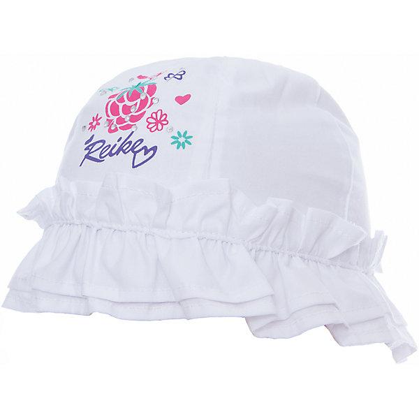 Панама Reike для девочкиШапки и шарфы<br>Характеристики товара:<br><br>• цвет: белый<br>• состав: 100% хлопок<br>• декорирована принтом и оборками<br>• мягкий материал<br>• страна бренда: Финляндия<br><br>Новая коллекция от известного финского производителя Reike отличается ярким дизайном, продуманностью и комфортом! Эта модель разработана специально для детей - она учитывает особенности их физиологии, а также новые тенденции в европейской моде. Стильная и удобная вещь!<br><br>Панаму для девочки от популярного бренда Reike можно купить в нашем интернет-магазине.<br>Ширина мм: 89; Глубина мм: 117; Высота мм: 44; Вес г: 155; Цвет: белый; Возраст от месяцев: 6; Возраст до месяцев: 9; Пол: Женский; Возраст: Детский; Размер: 46,50,48; SKU: 5430528;