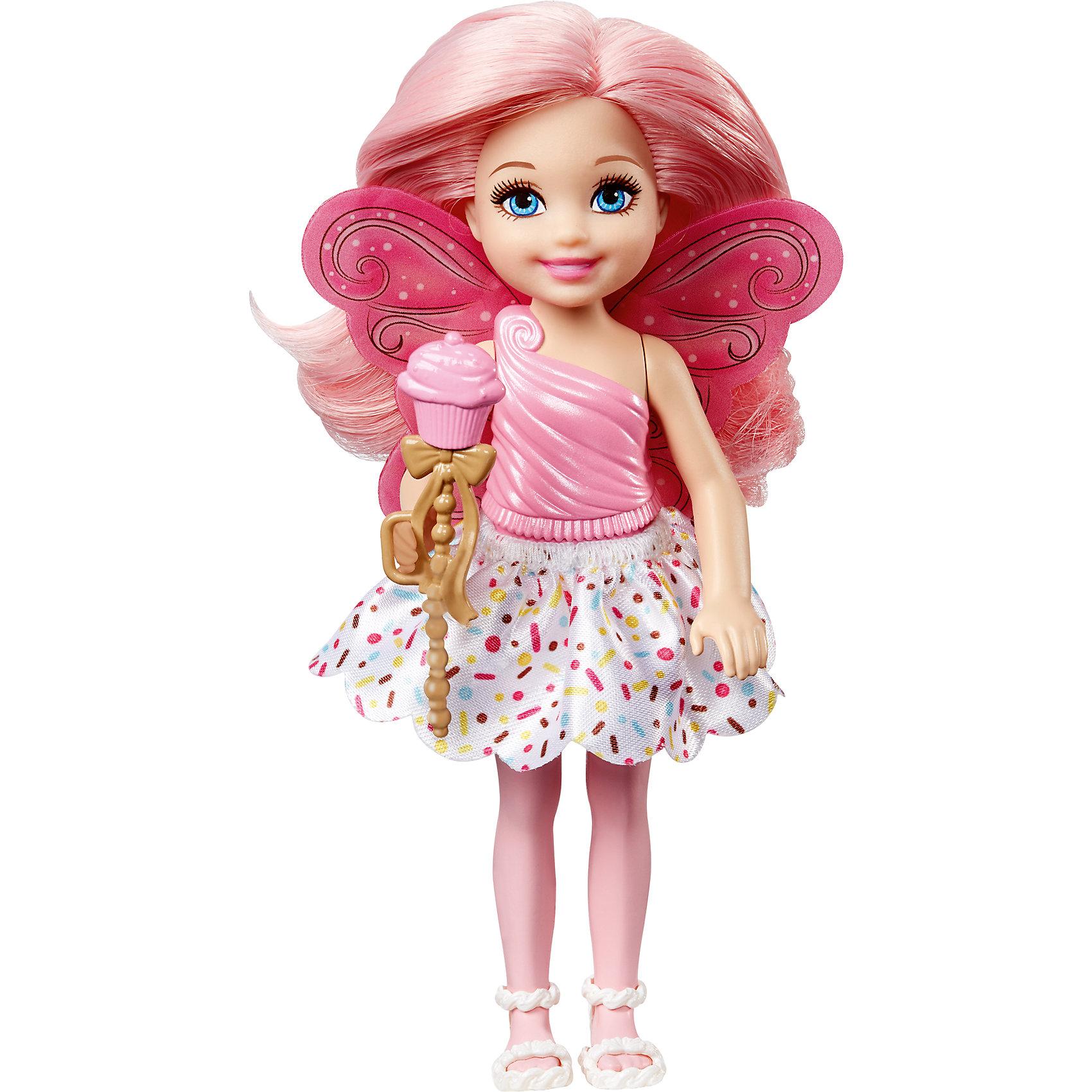 Маленькая фея-челси, BarbieBarbie<br>Характеристики товара:<br><br>• комплектация: 1 кукла<br>• материал: пластик, полимер<br>• серия: Barbie™ Dreamtopia «Сладкое Королевство»<br>• подвижные руки<br>• возраст: от трех лет<br>• размер упаковки: 10,5x18x4 см<br>• вес: 0,3 кг<br>• страна бренда: США<br><br>Маленьких любительниц куклы Barbie наверняка порадует малышка Челси в образе волшебной феи. Она выглядит очаровательно в ярком наряде и с небольшими крылышками. Длинные волосы позволяют делать разнообразные прически! Эта Челси станет великолепным подарком для девочек!<br><br>Игры с куклами помогают развить у девочек вкус и чувство стиля, отработать сценарии поведения в обществе, развить воображение и мелкую моторику. Такую куклу удобно брать с собой в поездки и на прогулки. Маленькая Челси от бренда Mattel не перестает быть популярной! <br><br>Куклу Маленькая фея-челси, Barbie, из серии Dreamtopia «Сладкое Королевство» от компании Mattel можно купить в нашем интернет-магазине.<br><br>Ширина мм: 100<br>Глубина мм: 40<br>Высота мм: 180<br>Вес г: 88<br>Возраст от месяцев: 36<br>Возраст до месяцев: 120<br>Пол: Женский<br>Возраст: Детский<br>SKU: 5430585