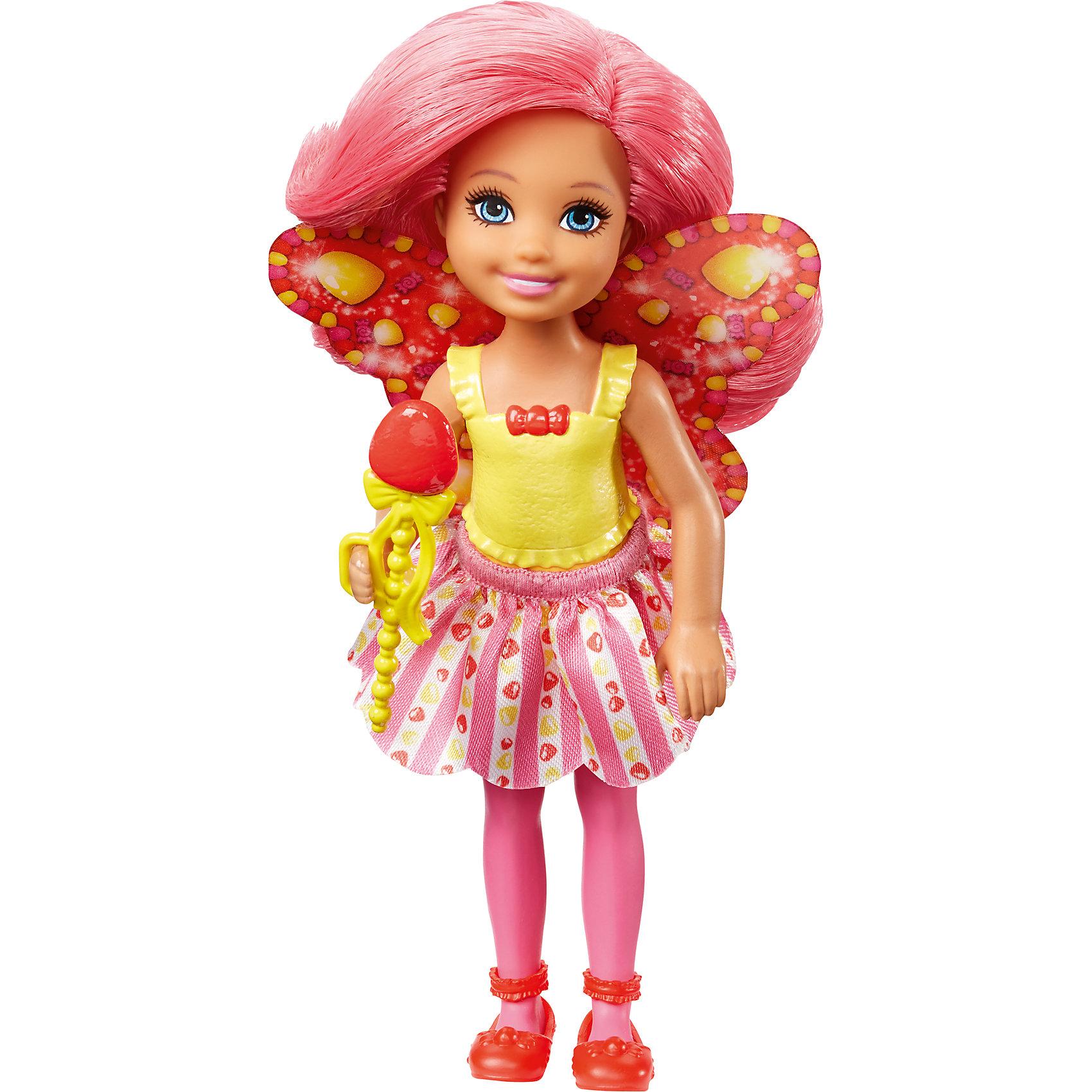 Маленькая фея-челси, BarbieПопулярные игрушки<br>Характеристики товара:<br><br>• комплектация: 1 кукла<br>• материал: пластик, полимер<br>• серия: Barbie™ Dreamtopia «Сладкое Королевство»<br>• подвижные руки<br>• возраст: от трех лет<br>• размер упаковки: 10,5 x 18 x 4 см<br>• вес: 0,3 кг<br>• страна бренда: США<br><br>Маленьких любительниц куклы Barbie наверняка порадует малышка Челси в образе волшебной феи. Она выглядит очаровательно в ярком наряде и с небольшими крылышками. Длинные волосы позволяют делать разнообразные прически! Эта Челси станет великолепным подарком для девочек!<br><br>Игры с куклами помогают развить у девочек вкус и чувство стиля, отработать сценарии поведения в обществе, развить воображение и мелкую моторику. Такую куклу удобно брать с собой в поездки и на прогулки. Маленькая Челси от бренда Mattel не перестает быть популярной! <br><br>Куклу Маленькая фея-челси, Barbie, из серии Dreamtopia «Сладкое Королевство»  от компании Mattel можно купить в нашем интернет-магазине.<br><br>Ширина мм: 100<br>Глубина мм: 40<br>Высота мм: 180<br>Вес г: 88<br>Возраст от месяцев: 36<br>Возраст до месяцев: 120<br>Пол: Женский<br>Возраст: Детский<br>SKU: 5430587