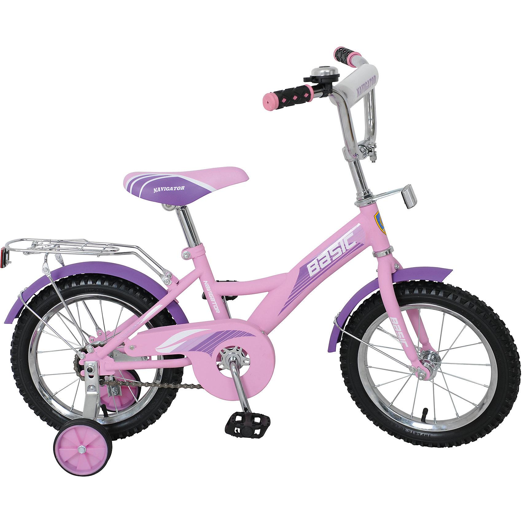Велосипед Basic, 14 д, Navigator, розово-фиолетовыйВелосипед Basic, розово-фиолетовый, Navigator (Навигатор) – это яркий, стильный, надежный велосипед высокого качества.<br>Детский велосипед Basic KITE-тип, обладает яркой расцветкой и стильными формами. продуманная конструкция сводит к минимуму риск получить травму. Рама велосипеда выполнена из высокопрочного металла. Покрытие рамы устойчиво к царапинам. Высота руля и сиденья легко регулируется в соответствии с возрастом и ростом ребенка. Мягкая накладка на руле обеспечит небольшое смягчение при падении на руль. Колеса оснащены резиновыми шинами, которые хорошо удерживают воздух. Велосипед имеет дополнительные широкие страховочные колеса, защиту цепи, стальные обода для защиты от брызг, удобное сиденье эргономичной формы, звонок, задний багажник. На ручках руля нескользящие накладки. Катание на велосипеде поможет ребенку укрепить опорно-двигательную и сердечнососудистую системы.<br><br>Дополнительная информация:<br><br>- Возрастная категория: 4 -6 лет<br>- Подходит для детей ростом 95 - 115 см.<br>- Диаметр колёс: 14 дюймов<br>- Односоставной шатун<br>- Ножной тормоз<br>- Материал рамы: сталь<br>- Вес в упаковке: 9,9 кг.<br><br>Велосипед Basic, розово-фиолетовый, Navigator (Навигатор) можно купить в нашем интернет-магазине.<br><br>Ширина мм: 800<br>Глубина мм: 360<br>Высота мм: 170<br>Вес г: 9800<br>Возраст от месяцев: 48<br>Возраст до месяцев: 84<br>Пол: Женский<br>Возраст: Детский<br>SKU: 5433213