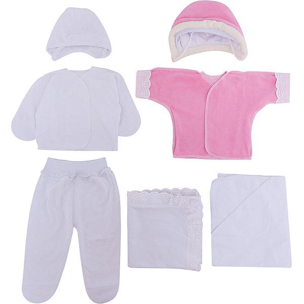 Комплект на выписку 9 пред., GulSara, 80 весна-осень, велюр, розовыйДетские конверты<br>Характеристики:<br><br>• Вид детского текстиля: комплект на выписку<br>• Предназначение: на выписку, для прогулки<br>• Сезон: весна, осень<br>• Утеплитель: средняя степень<br>• Температурный режим: от +5? С до +21? С<br>• Пол: для девочки<br>• Тематика рисунка: медвежонок<br>• Материал: велюр, кулирка, органза<br>• Цвет: розовый, молочный<br>• Комплектация:<br> одеяло синтепоновое – 1 шт. 100*100 см<br> шапочка на синтепоне – 1 шт. р-р 56-36<br> конверт на молнии – 1 шт. р-р 75-40<br> ползунки – 1 шт. р-р 56-36<br> распашонка – 1 шт. р-р 56-36<br> чепчик – 1 шт. р-р 56-36<br> уголок – 1 шт. 75*75 см<br> • Особенности ухода: машинная стирка при температуре 30 градусов без использования отбеливающих и красящих веществ<br><br>Комплект на выписку 9 пред., GulSara, 80 весна-осень, велюр, розовый от отечественного швейного производства, который выпускает современный текстиль и товары для новорожденных, изготовленных на основе вековых традиций. В своем производстве GulSara использует только экологичные и натуральные материалы, что обеспечивает их безопасность даже для малышей с чувствительной кожей. Набор предназначен для выписки в осенне-весенний период и состоит из утепленного одеяла, шапочки и конверта на молнии. <br><br>В качестве наполнителя использован синтепон – легкий, но при этом гипоаллергенный материал. Комплект нижней одежды состоит из ползунков, распашонки и чепчика, изготовленных из нежной и мягкой кулирки. Дополнительно в комплекте предусмотрена велюровая распашонка. Праздничный образ комплекта создается за счет вышивки и ажурного уголка. Комплект на выписку 9 пред., GulSara, 80 весна-осень, велюр, розовый создаст изысканный и неповторимый образ вашего малыша!<br><br>Комплект на выписку 9 пред., GulSara, 80 весна-осень, велюр, розовый можно купить в нашем интернет-магазине.<br>Ширина мм: 750; Глубина мм: 400; Высота мм: 90; Вес г: 1500; Возраст от месяцев: 0; Возраст до м