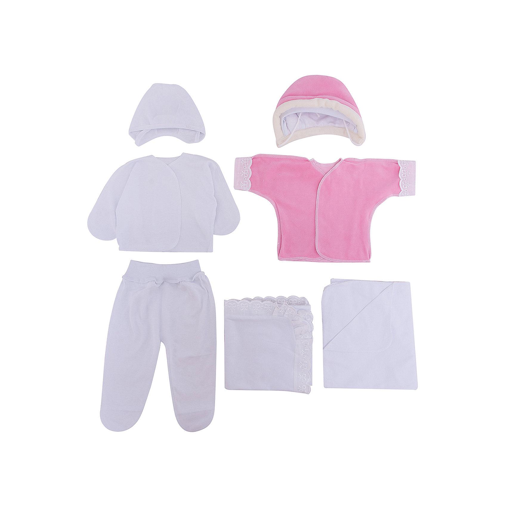 Комплект на выписку 9 пред., GulSara, 80 весна-осень, велюр, розовыйКонверты на выписку<br>Характеристики:<br><br>• Вид детского текстиля: комплект на выписку<br>• Предназначение: на выписку, для прогулки<br>• Сезон: весна, осень<br>• Утеплитель: средняя степень<br>• Температурный режим: от +5? С до +21? С<br>• Пол: для девочки<br>• Тематика рисунка: медвежонок<br>• Материал: велюр, кулирка, органза<br>• Цвет: розовый, молочный<br>• Комплектация:<br> одеяло синтепоновое – 1 шт. 100*100 см<br> шапочка на синтепоне – 1 шт. р-р 56-36<br> конверт на молнии – 1 шт. р-р 75-40<br> ползунки – 1 шт. р-р 56-36<br> распашонка – 1 шт. р-р 56-36<br> чепчик – 1 шт. р-р 56-36<br> уголок – 1 шт. 75*75 см<br> • Особенности ухода: машинная стирка при температуре 30 градусов без использования отбеливающих и красящих веществ<br><br>Комплект на выписку 9 пред., GulSara, 80 весна-осень, велюр, розовый от отечественного швейного производства, который выпускает современный текстиль и товары для новорожденных, изготовленных на основе вековых традиций. В своем производстве GulSara использует только экологичные и натуральные материалы, что обеспечивает их безопасность даже для малышей с чувствительной кожей. Набор предназначен для выписки в осенне-весенний период и состоит из утепленного одеяла, шапочки и конверта на молнии. <br><br>В качестве наполнителя использован синтепон – легкий, но при этом гипоаллергенный материал. Комплект нижней одежды состоит из ползунков, распашонки и чепчика, изготовленных из нежной и мягкой кулирки. Дополнительно в комплекте предусмотрена велюровая распашонка. Праздничный образ комплекта создается за счет вышивки и ажурного уголка. Комплект на выписку 9 пред., GulSara, 80 весна-осень, велюр, розовый создаст изысканный и неповторимый образ вашего малыша!<br><br>Комплект на выписку 9 пред., GulSara, 80 весна-осень, велюр, розовый можно купить в нашем интернет-магазине.<br><br>Ширина мм: 750<br>Глубина мм: 400<br>Высота мм: 90<br>Вес г: 1500<br>Возраст от месяцев: 