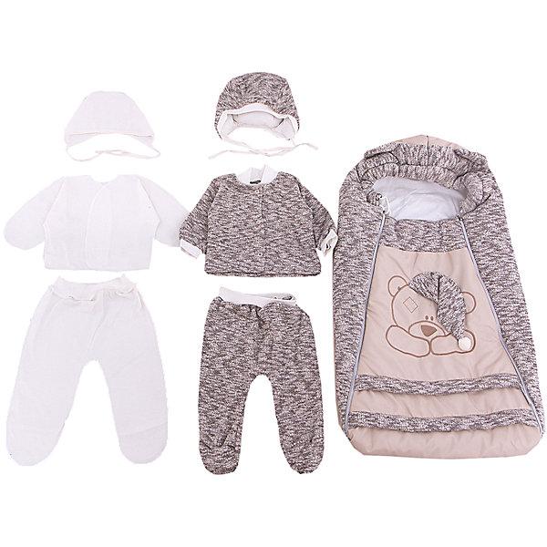 Комплект на выписку 8 пред., GulSara, 85 весна-осень Мишка вязанкаДетские конверты<br>Характеристики:<br><br>• Вид детского текстиля: комплект на выписку<br>• Предназначение: на выписку, для прогулки<br>• Сезон: весна, осень<br>• Утеплитель: средняя степень<br>• Температурный режим: от -10? С до +20? С<br>• Пол: универсальный<br>• Тематика рисунка: медвежонок<br>• Материал: велсофт, трикотаж<br>• Цвет: молочный, бежевый<br>• Комплектация:<br> конверт на 2-х молниях – 1 шт. 75*40 см<br> шапочка на синтепоне – 1 шт. р-р 56-36<br> одеяло утепленное – 1 шт. р-р 95*100 см<br> кофточка из вязаного трикотажа – 1 шт. р-р 56-36<br> ползунки из вязаного трикотажа – 1 шт. р-р 56-36<br> ползунки – 1 шт. р-р 56-36<br> распашонка – 1 шт. р-р 56-36<br> чепчик – 1 шт. р-р 56-36<br>• Особенности ухода: машинная стирка при температуре 30 градусов без использования отбеливающих и красящих веществ<br><br>Комплект на выписку 8 пред., GulSara, 85 весна-осень Мишка вязанка от отечественного швейного производства, который выпускает современный текстиль и товары для новорожденных, изготовленных на основе вековых традиций. В своем производстве GulSara использует только экологичные и натуральные материалы, что обеспечивает их безопасность даже для малышей с чувствительной кожей. Набор предназначен для выписки в осенне-весенний период и состоит из утепленного конверта, шапочки и одеяла на синтепоне. <br><br>В качестве наполнителя использован синтепон – легкий, но при этом гипоаллергенный материал. Для промежуточного слоя одежды в наборе предусмотрены кофточка и ползунки, выполненные из вязаного трикотажного полотна. Комплект нижней одежды состоит из ползунков, распашонки и чепчика, изготовленных из натурального хлопка. Передняя полочка конверта оформлена аппликацией в виде медвежонка с забавным колпаком, а капюшон – декоративными ушками. Комплект на выписку 8 пред., GulSara, 85 весна-осень Мишка вязанка создаст изысканный и неповторимый образ вашего малыша!<br><br>Комплект на выписку 8 пред., 