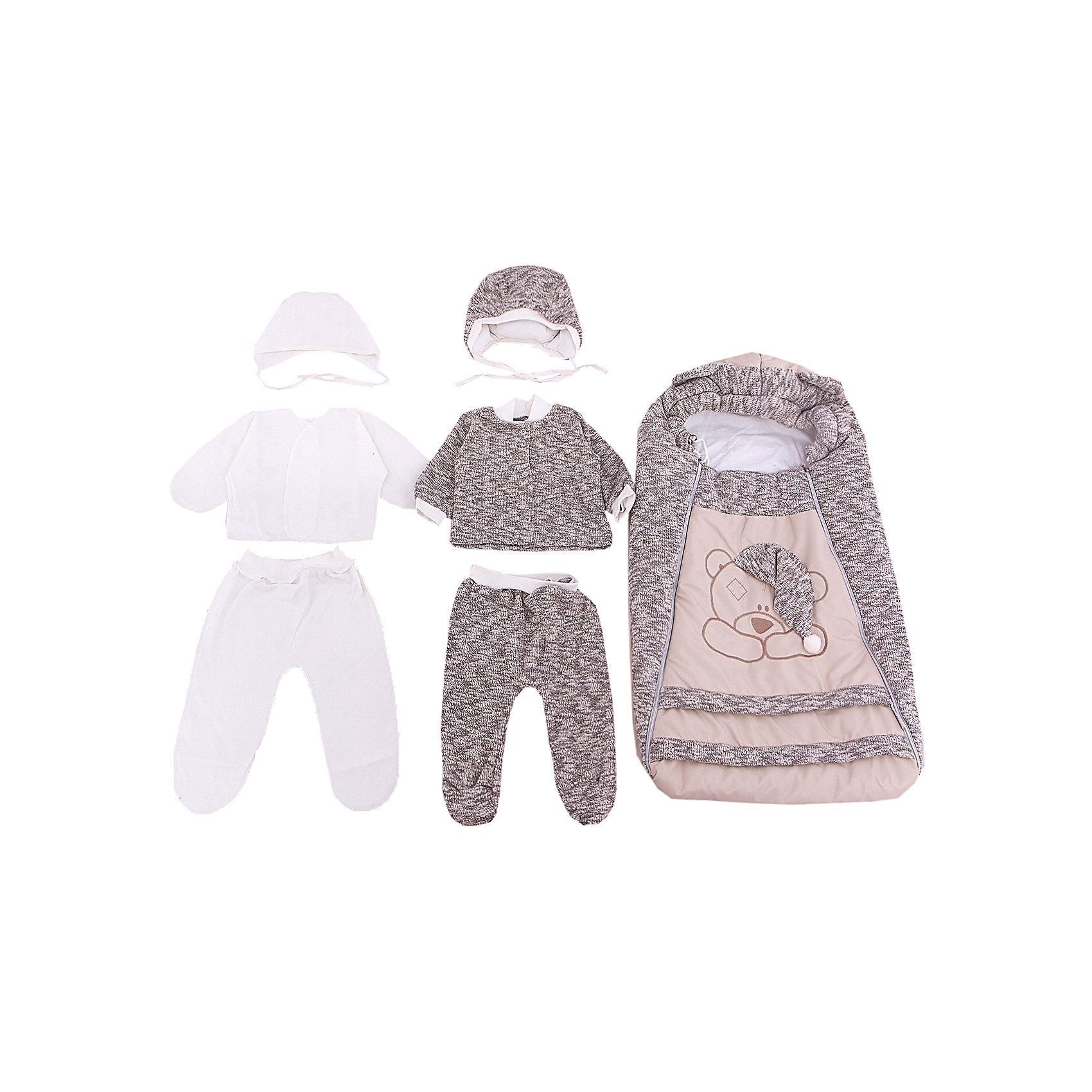 Комплект на выписку 8 пред., GulSara, 85 весна-осень Мишка вязанкаКонверты на выписку<br>Характеристики:<br><br>• Вид детского текстиля: комплект на выписку<br>• Предназначение: на выписку, для прогулки<br>• Сезон: весна, осень<br>• Утеплитель: средняя степень<br>• Температурный режим: от -10? С до +20? С<br>• Пол: универсальный<br>• Тематика рисунка: медвежонок<br>• Материал: велсофт, трикотаж<br>• Цвет: молочный, бежевый<br>• Комплектация:<br> конверт на 2-х молниях – 1 шт. 75*40 см<br> шапочка на синтепоне – 1 шт. р-р 56-36<br> одеяло утепленное – 1 шт. р-р 95*100 см<br> кофточка из вязаного трикотажа – 1 шт. р-р 56-36<br> ползунки из вязаного трикотажа – 1 шт. р-р 56-36<br> ползунки – 1 шт. р-р 56-36<br> распашонка – 1 шт. р-р 56-36<br> чепчик – 1 шт. р-р 56-36<br>• Особенности ухода: машинная стирка при температуре 30 градусов без использования отбеливающих и красящих веществ<br><br>Комплект на выписку 8 пред., GulSara, 85 весна-осень Мишка вязанка от отечественного швейного производства, который выпускает современный текстиль и товары для новорожденных, изготовленных на основе вековых традиций. В своем производстве GulSara использует только экологичные и натуральные материалы, что обеспечивает их безопасность даже для малышей с чувствительной кожей. Набор предназначен для выписки в осенне-весенний период и состоит из утепленного конверта, шапочки и одеяла на синтепоне. <br><br>В качестве наполнителя использован синтепон – легкий, но при этом гипоаллергенный материал. Для промежуточного слоя одежды в наборе предусмотрены кофточка и ползунки, выполненные из вязаного трикотажного полотна. Комплект нижней одежды состоит из ползунков, распашонки и чепчика, изготовленных из натурального хлопка. Передняя полочка конверта оформлена аппликацией в виде медвежонка с забавным колпаком, а капюшон – декоративными ушками. Комплект на выписку 8 пред., GulSara, 85 весна-осень Мишка вязанка создаст изысканный и неповторимый образ вашего малыша!<br><br>Комплект на выписку 8 пред
