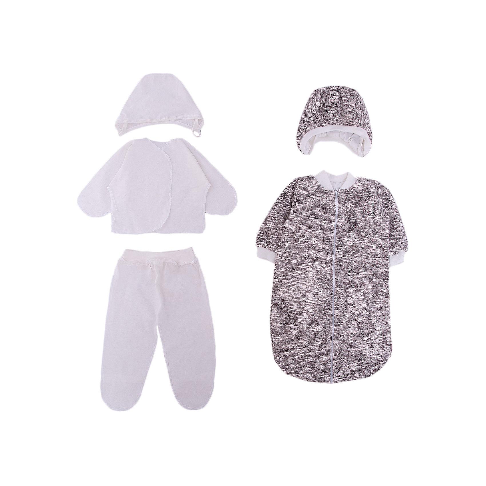Комплект на выписку 6 пред., GulSara, 86 весна-осеньМишкаХарактеристики:<br><br>• Вид детского текстиля: комплект на выписку<br>• Предназначение: на выписку, для прогулки<br>• Сезон: весна, осень<br>• Утеплитель: средняя степень<br>• Температурный режим: от -10? С до +20? С<br>• Пол: универсальный<br>• Тематика рисунка: медвежонок<br>• Материал: трикотаж, велсофт<br>• Цвет: молочный, серый<br>• Комплектация:<br> шапочка на синтепоне – 1 шт. р-р 56-36<br> одеяло из вязаного трикотажа – 1 шт. р-р 90*100 см<br> кофточка из вязаного трикотажа – 1 шт. р-р 56-36<br> ползунки из вязаного трикотажа – 1 шт. р-р 56-36<br> ползунки – 1 шт. р-р 56-36<br> распашонка – 1 шт. р-р 56-36<br> чепчик – 1 шт. р-р 56-36<br>• Особенности ухода: машинная стирка при температуре 30 градусов без использования отбеливающих и красящих веществ<br><br>Комплект на выписку 6 пред., GulSara, 86 весна-осень Мишка от отечественного швейного производства, который выпускает современный текстиль и товары для новорожденных, изготовленных на основе вековых традиций. В своем производстве GulSara использует только экологичные и натуральные материалы, что обеспечивает их безопасность даже для малышей с чувствительной кожей. Набор предназначен для выписки в осенне-весенний период и состоит из шапочки и одеяла, выполненных из вязаного трикотажного полотна. <br><br>В качестве утеплителя использован синтепон – легкий, но при этом гипоаллергенный материал. Для промежуточного слоя одежды в наборе предусмотрены кофточка и ползунки, также выполненные из вязаного трикотажного полотна. Комплект нижней одежды состоит из ползунков, распашонки и чепчика, изготовленных из натурального хлопка. Одеяло оформлено аппликацией в виде медвежонка и кружевом. Комплект на выписку 6 пред., GulSara, 86 весна-осень Мишка создаст изысканный и неповторимый образ вашего малыша!<br><br>Комплект на выписку 6 пред., GulSara, 86 весна-осень Мишка можно купить в нашем интернет-магазине.<br><br>Ширина мм: 750<br>Глубина мм: 400<br>Высота мм: 9