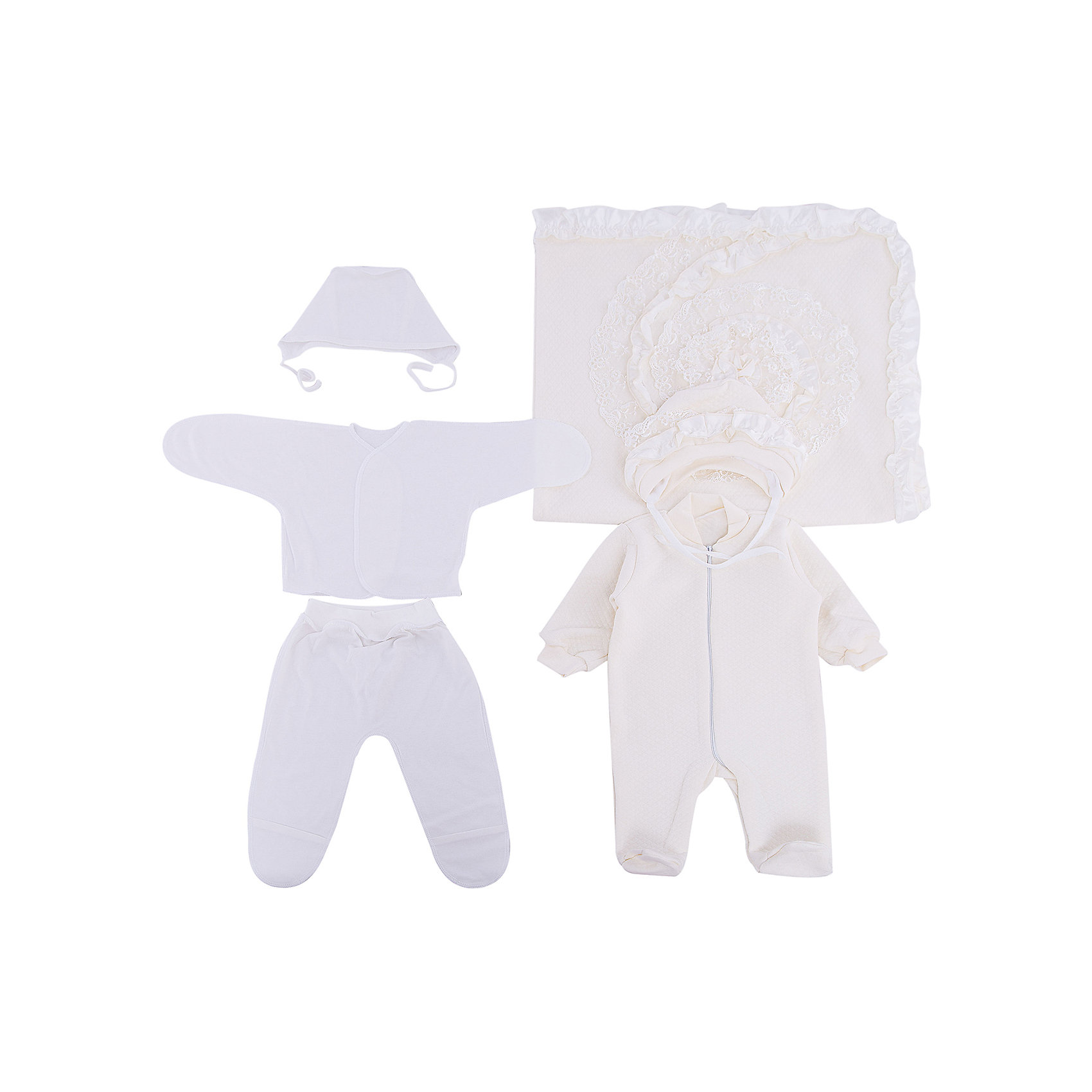 Комплект на выписку одеяло-плед 6-ти, GulSara, 168 жаркое лето капитонийНаборы одежды, конверты на выписку<br>Характеристики:<br><br>• Вид детского текстиля: комплект на выписку<br>• Предназначение: на выписку, для прогулки<br>• Сезон: лето<br>• Утеплитель: без утепления<br>• Температурный режим: от +15? С <br>• Пол: универсальный<br>• Тематика рисунка: коляска<br>• Материал: капитоний, кулирка<br>• Цвет: молочный, белый<br>• Комплектация:<br> одеяло-плед – 1 шт. р-р 85*85 см<br> чепчик – 2 шт. р-р 56-36<br> комбинезон на молнии – 1 шт. р-р 56-36<br> ползунки – 1 шт. р-р 56-36<br> распашонка – 1 шт. р-р 56-36<br>• Особенности ухода: машинная стирка при температуре 30 градусов без использования отбеливающих и красящих веществ<br><br>Комплект на выписку одеяло-плед 6-ти, GulSara, 168 жаркое лето капитоний от отечественного швейного производства, который выпускает современный текстиль и товары для новорожденных, изготовленных на основе вековых традиций. В своем производстве GulSara использует только экологичные и натуральные материалы, что обеспечивает их безопасность даже для малышей с чувствительной кожей. <br><br>Набор предназначен для выписки в летний период и состоит из квадратного пледа-одеяла, комбинезона и чепчика, выполненных из натуральной хлопкового трикотажного полотна. Комплект нижней одежды состоит из ползунков, распашонки и чепчика, изготовленных из нежной и мягкой кулирки. Плед по периметру декорирован оборками и кружевом, по центру имеется кружевная аппликация. Комплект на выписку одеяло-плед 6-ти, GulSara, 168 жаркое лето капитоний создаст изысканный и неповторимый образ вашего малыша!<br><br>Комплект на выписку одеяло-плед 6-ти, GulSara, 168 жаркое лето капитоний можно купить в нашем интернет-магазине.<br><br>Ширина мм: 450<br>Глубина мм: 450<br>Высота мм: 20<br>Вес г: 500<br>Возраст от месяцев: 0<br>Возраст до месяцев: 6<br>Пол: Унисекс<br>Возраст: Детский<br>SKU: 5433431