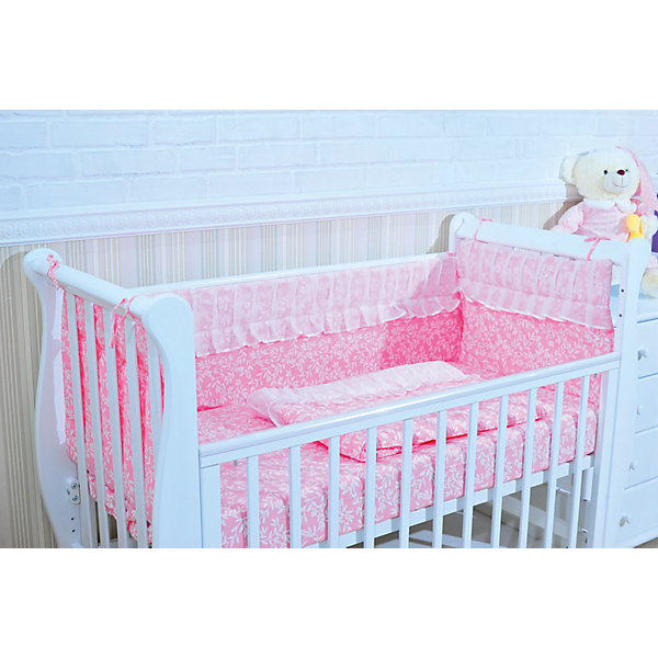 Борт в кроватку, GulSara, 18.47 розовыйПостельное белье в кроватку новорождённого<br>Характеристики:<br><br>• Вид детского текстиля: бортики для детской кроватки<br>• Пол: для девочки<br>• Тематика рисунка: веточки<br>• Сезон: круглый год<br>• Материал: бязь (хлопок 100%), вуаль (полиэстер 100%)<br>• Наполнитель: синтепон (полиэстер 100%)<br>• Цвет: розовый, белый<br>• Размеры (Д*В): 360*44 см (55 см – высота боковин)<br>• Комплектация: 4 части <br>• Способ крепления к кроватке: завязки <br>• Декоративные элементы: широкие рюши<br>• Упаковка: полиэтилен <br>• Вес в упаковке: 980 г<br>• Особенности ухода: ручная или машинная стирка на деликатном режиме при температуре не более 30 градусов без применения красящих и отбеливающих веществ<br><br>Борт в кроватку, GulSara, 18.47 розовый от отечественного швейного производства, который выпускает современный текстиль и товары для новорожденных, изготовленных на основе вековых традиций. В своем производстве GulSara использует только экологичные и натуральные материалы, что обеспечивает их безопасность даже для малышей с чувствительной кожей. Бортики предназначены для детских кроваток стандартного размера, спальное место которых составляет не менее 120*60 см. <br><br>Изделие выполнено из четырех частей, каждая из которых крепится к кроватке при помощи завязок. Бортики изготовлены из бязи высокого качества, в качестве наполнителя использован синтепон. Такое сочетание обеспечивает не только легкость и воздухопроницаемость, но и обладает достаточно хорошими износоустойчивыми характеристиками. Бортики выполнены в оригинальном дизайне: принт из веточек эффектно подчеркивает и дополняет широкая рюша, выполненная из вуали.<br><br>Борт в кроватку, GulSara, 18.47 розовый – эти бортики не только обеспечат безопасность вашего малыша, но и создадут оригинальный и изысканный стиль детской кроватки! <br><br>Борт в кроватку, GulSara, 18.47 розовый можно купить в нашем интернет-магазине.<br><br>Ширина мм: 620<br>Глубина мм: 50<br>Высота мм: 5