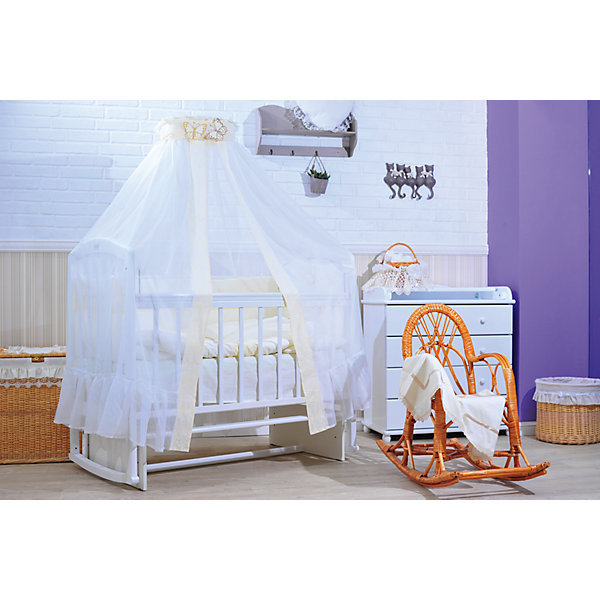 Комплект в кроватку 7 пред., GulSara, 45 БабочкиПостельное белье в кроватку новорождённого<br>Характеристики:<br><br>• Вид детского текстиля: комплект для детской кроватки<br>• Пол: универсальный<br>• Тематика рисунка: бабочки, веточки<br>• Сезон: круглый год<br>• Материал: бязь (хлопок 100%), вуаль (полиэстер 100%)<br>• Наполнитель: синтепон (полиэстер 100%)<br>• Цвет: в ассортименте<br>• Комплектация:<br> одеяло – 1 шт. 110*140 см <br> пододеяльник – 1 шт. 110*140 см <br> простынь – 1 шт. 100*140 см<br> наволочка – 1 шт. 48*60 см<br> подушка – 1 шт. 40*60 см<br> бортики – 4 части (Д*В): 360*40 см (55 см – высота боковин)<br> балдахин – 1 шт. 400*180 см<br>• Способ крепления к кроватке бортиков: завязки <br>• Декоративные элементы: объемная аппликация<br>• Упаковка: полиэтилен <br>• Вес в упаковке: 2 кг 010 г<br>• Особенности ухода: ручная или машинная стирка на деликатном режиме при температуре не более 30 градусов без применения красящих и отбеливающих веществ<br><br>Комплект в кроватку 7 пред., GulSara, 45 Бабочки от отечественного швейного производства, который выпускает современный текстиль и товары для новорожденных, изготовленных на основе вековых традиций. В своем производстве GulSara использует только экологичные и натуральные материалы, что обеспечивает их безопасность даже для малышей с чувствительной кожей. Комплект из семи предметов предназначен для детских кроваток стандартного размера и включает в себя: одеяло, подушку, наволочку, простынь, пододеяльник, бортики и балдахин. <br><br>Все изделия выполнены из бязи с высокими гигиеническими характеристиками. При частых стирках ткань сохраняет свои свойства: не изменяет формы и плотности полотна, не выцветает. У пододеяльника прорезь предусмотрена сбоку. Простынь не сминается и не скользит на матрасике. Бортики выполнены из четырех частей, каждая из которых крепится к кроватке при помощи завязок. Комплект выполнен в едином стиле, декорирован широкими полосками из ткани с узором и бабочек, выполненных в те